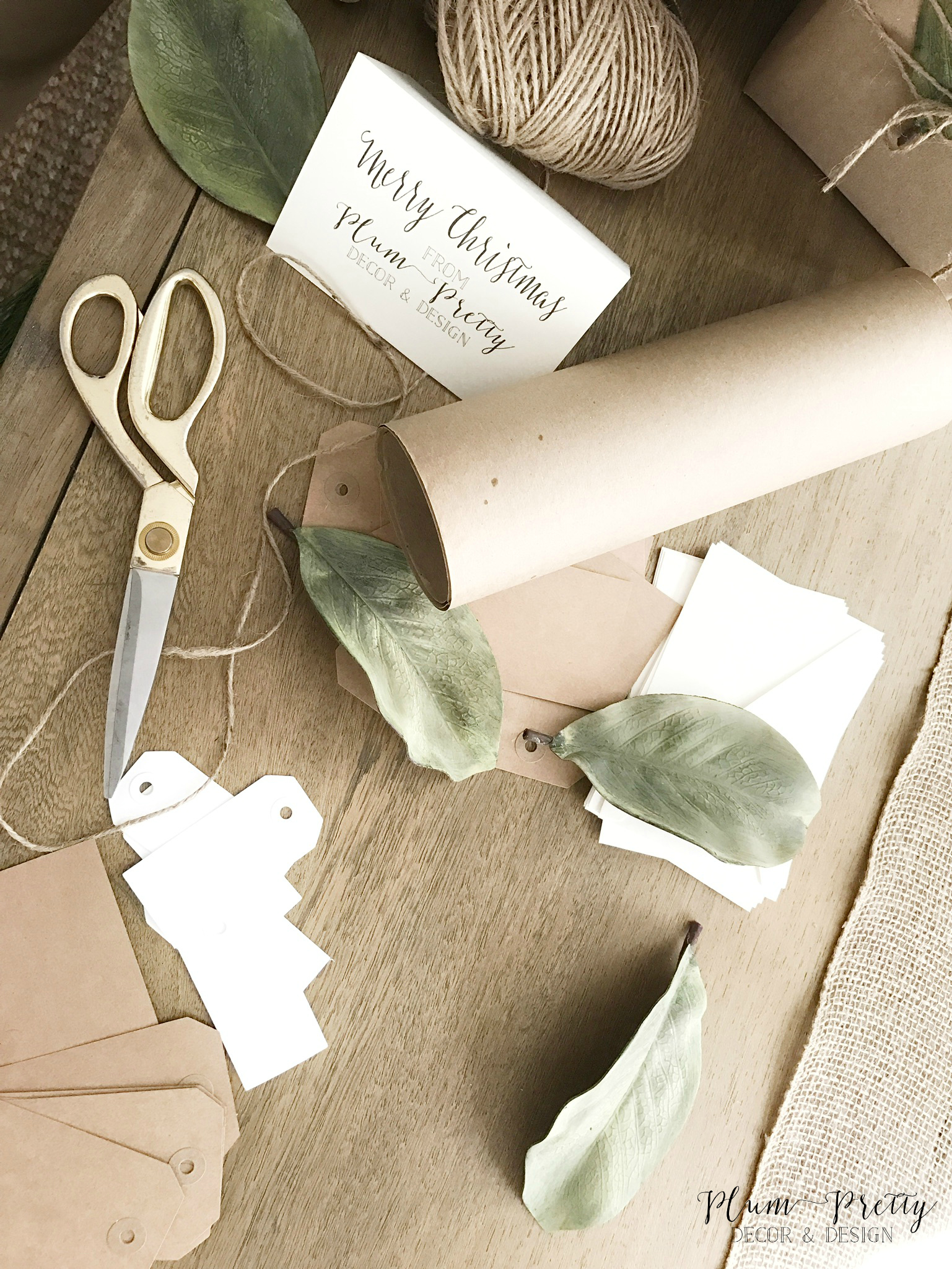Neutral Present Wrapping with Craft Paper, Jute Twine, Magnolia Leafs, and Burlap- Plum Pretty Decor and Design