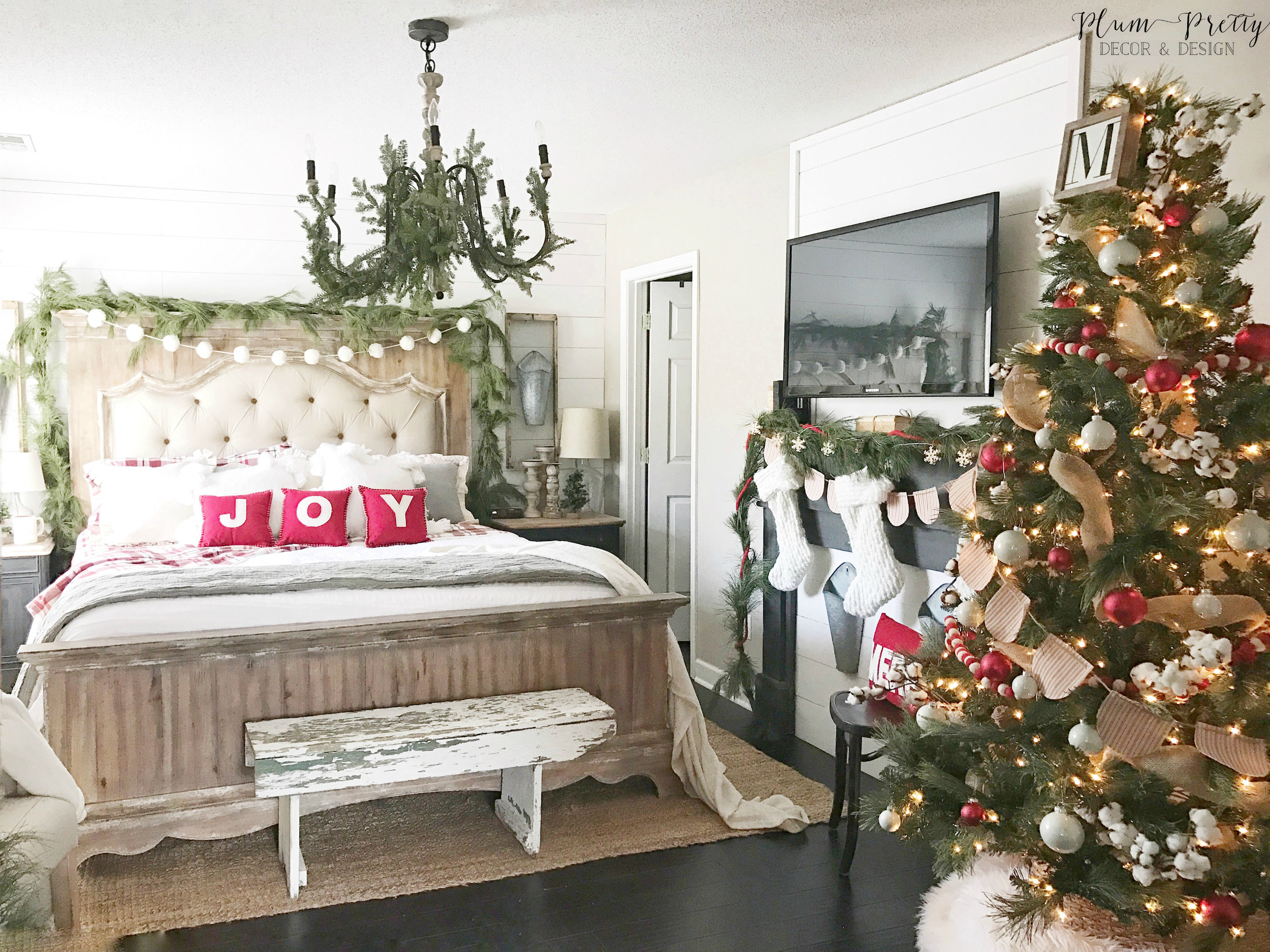Farmhouse Christmas Bedroom Tour by Kayla Miller or Plum Pretty Decor and Design.