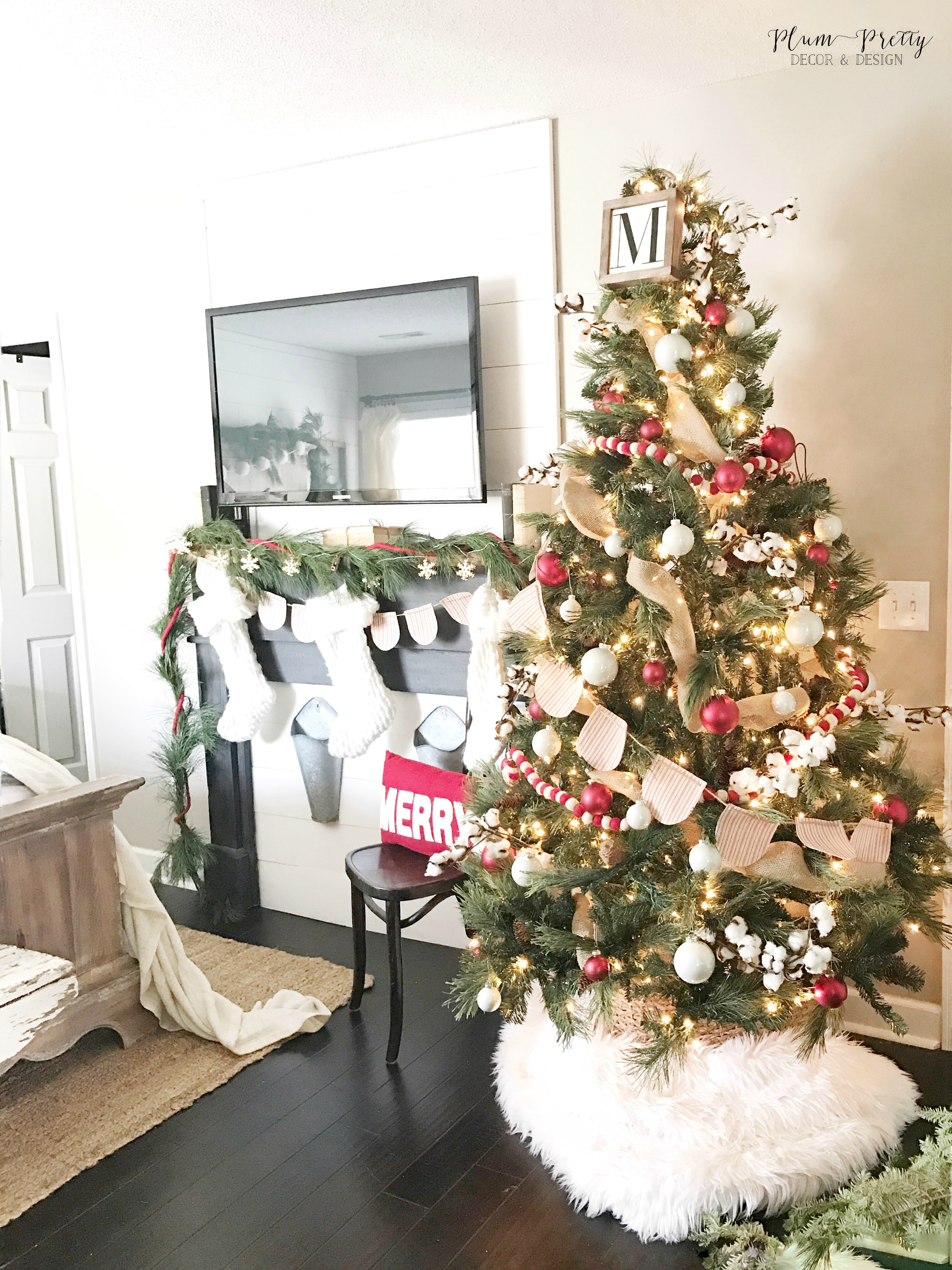 Farmhouse Christmas Bedroom Tour- Red and White Christmas Tree- By Kayla Miller of Plum Pretty Decor and Design