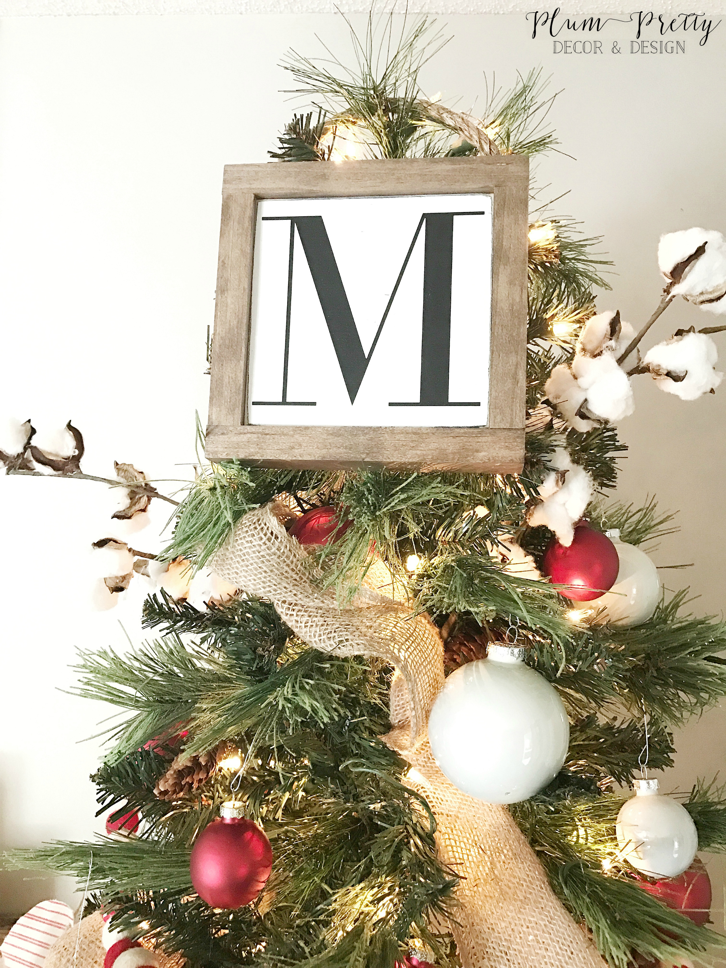Farmhouse Christmas Bedroom Tour- Wooden Sign Tree Topper- By Kayla Miller of Plum Pretty Decor and Design