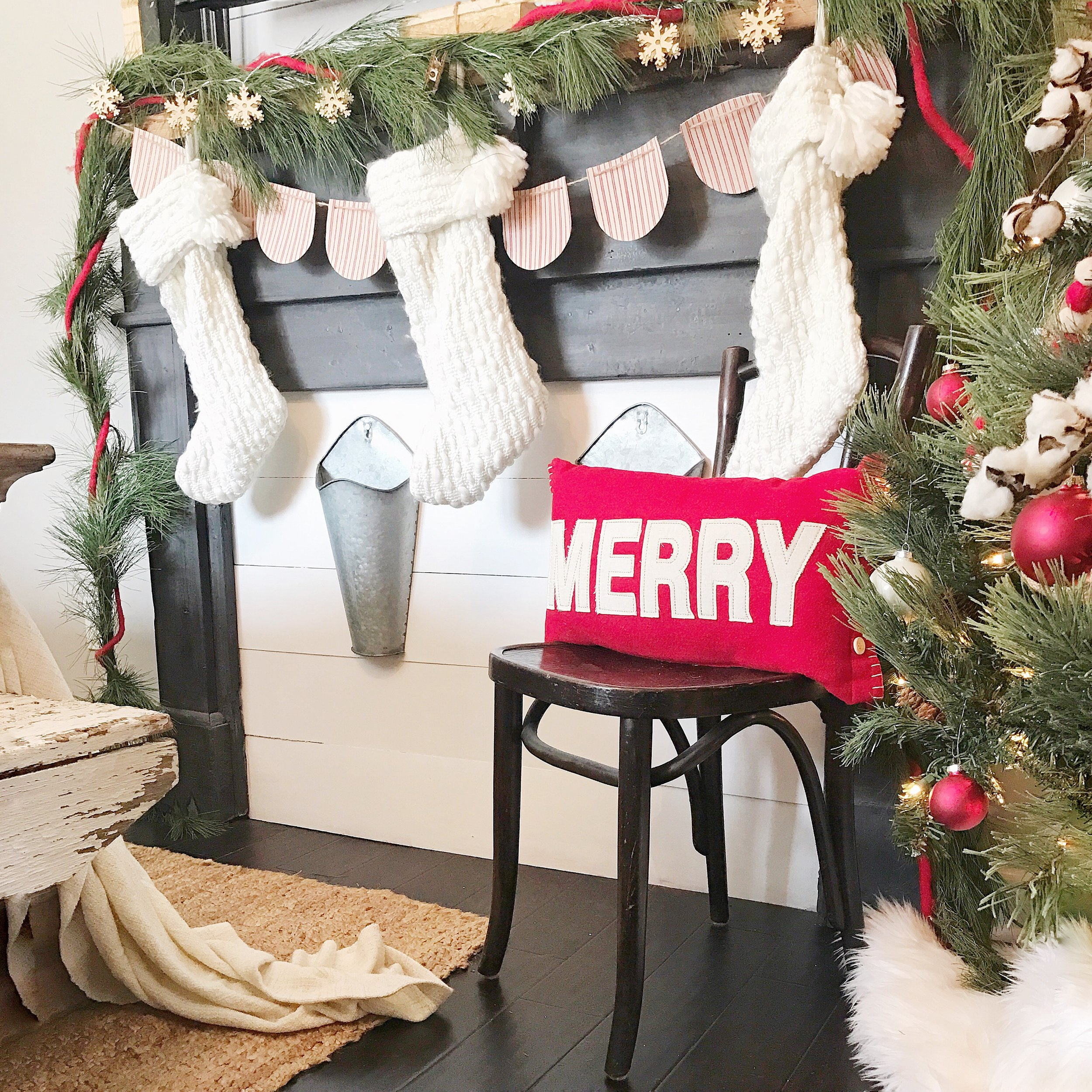 Farmhouse Christmas Bedroom Tour- Faux Fireplace with Stockings- By Kayla Miller of Plum Pretty Decor and Design