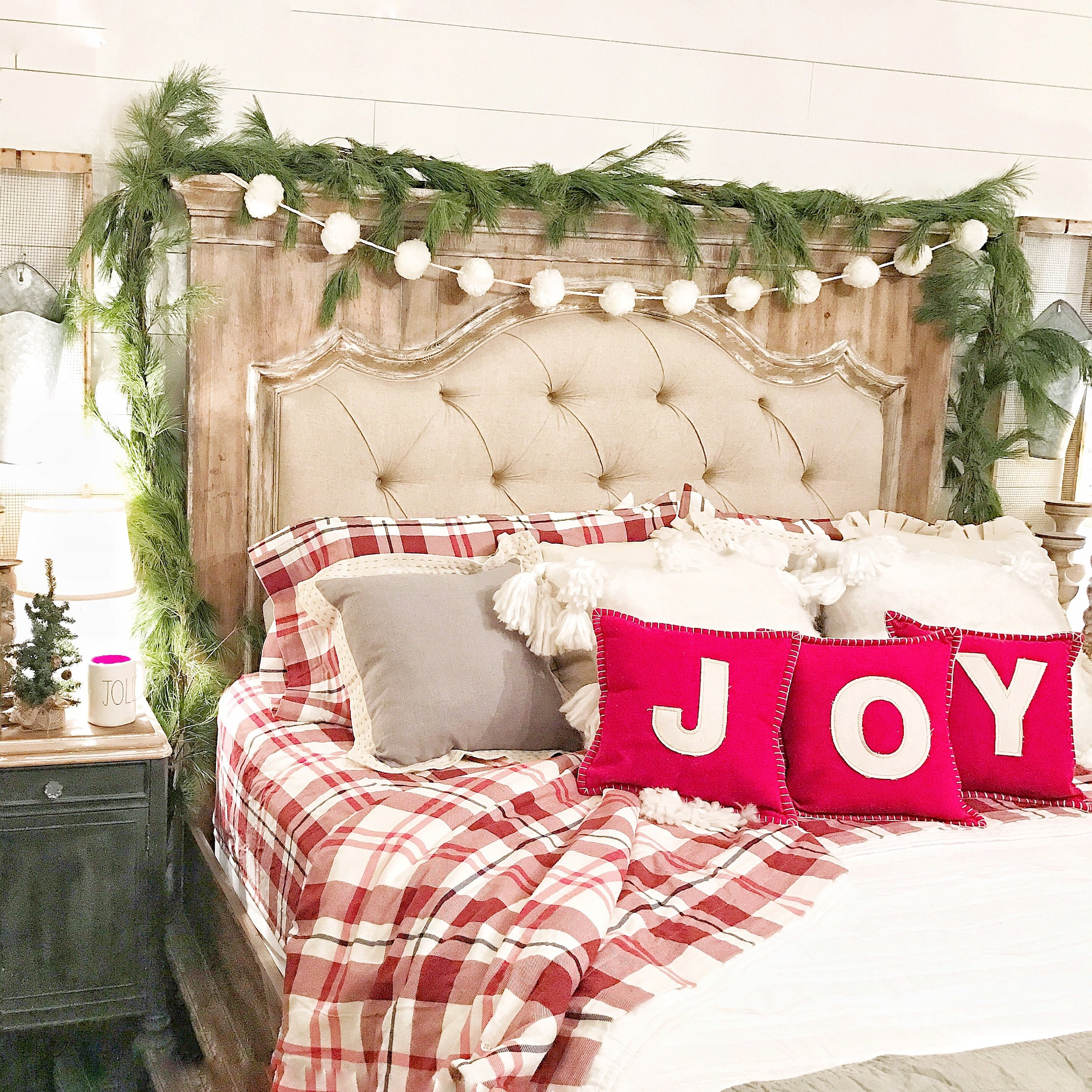 Farmhouse Christmas Bedroom Tour- Image Shared By Country Living Magazine- By Kayla Miller of Plum Pretty Decor and Design