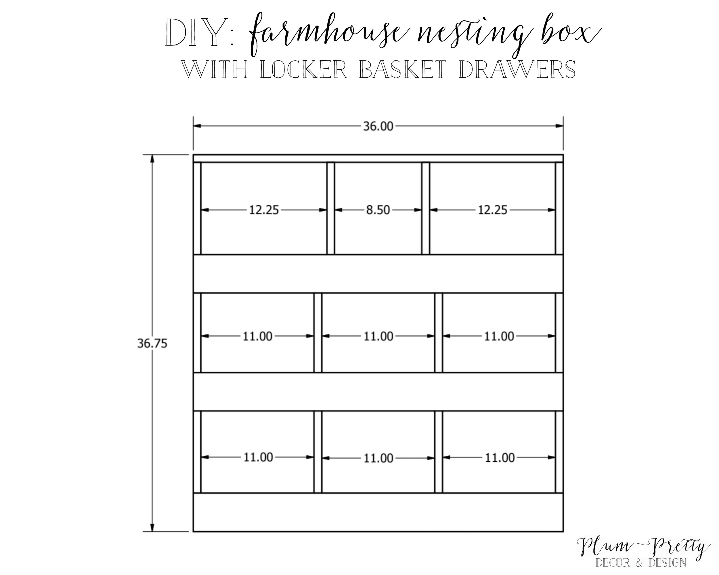 DIY: Farmhouse Nesting Box with Locker Basket Drawers Tutorial by Plum Pretty Decor and Design