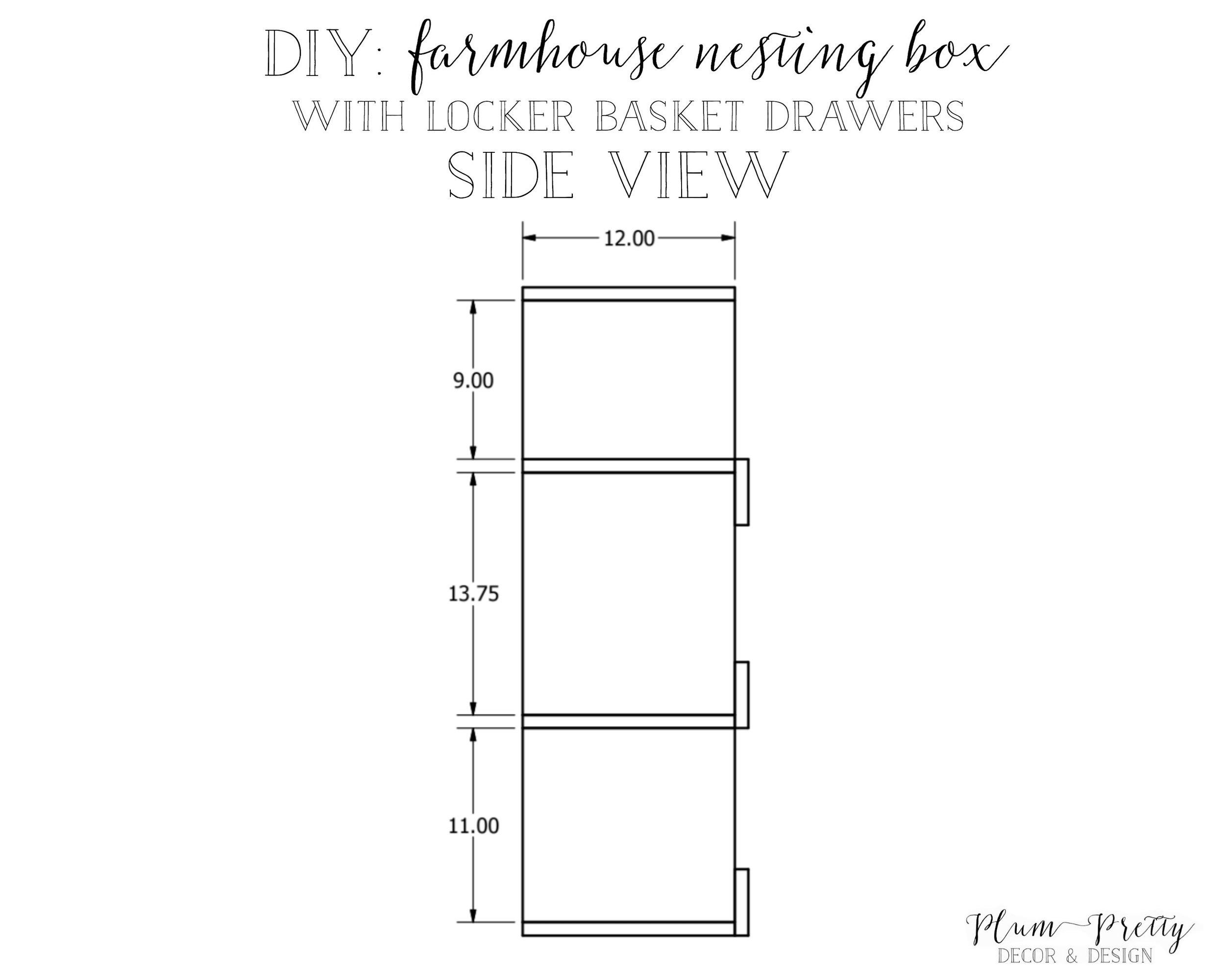 DIY: Farmhouse Nesting Box with Locker Basket Drawers Tutorial Side View by Plum Pretty Decor and Design