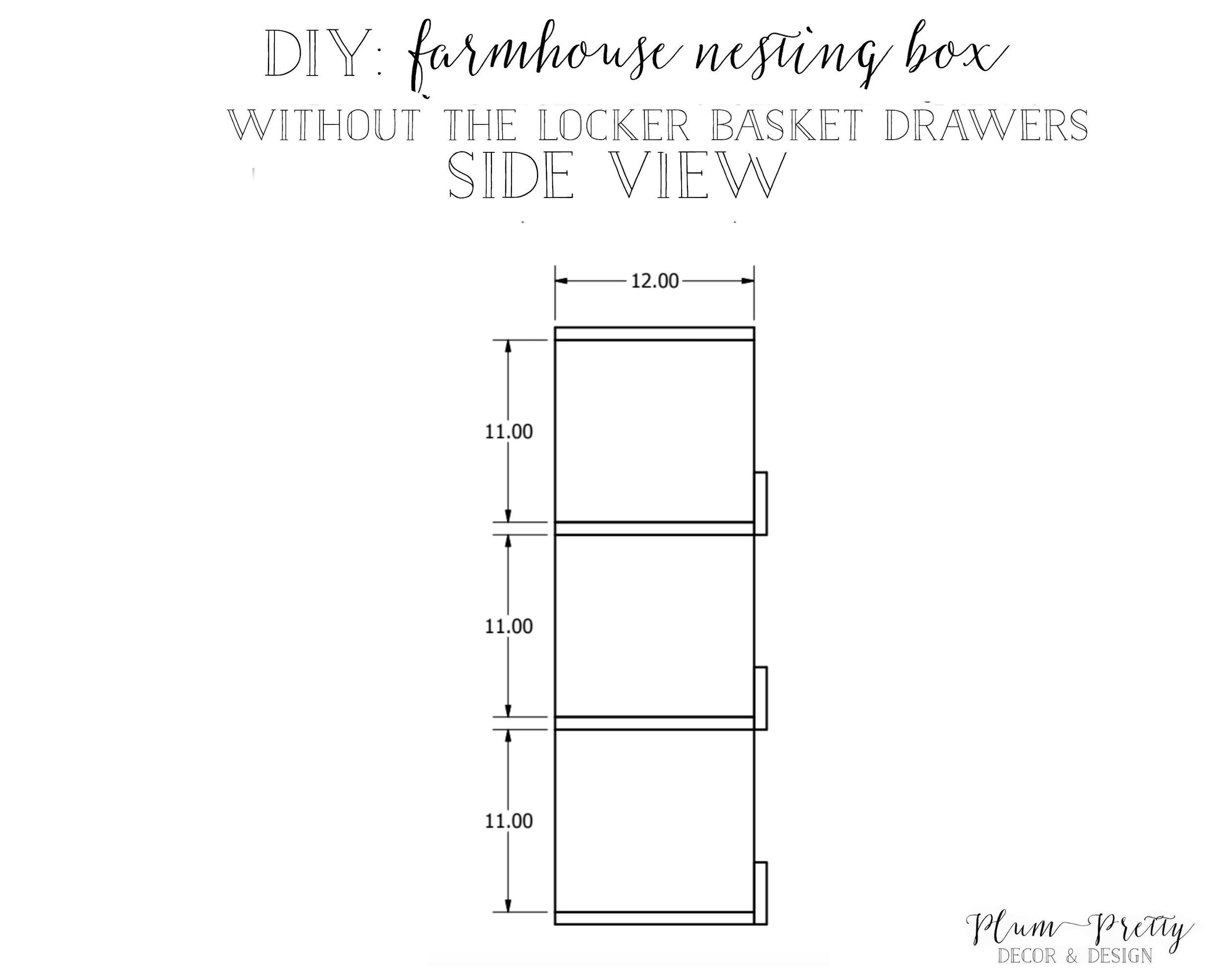 DIY Farmhouse Nesting Box Tutorial- Side View- Plum Pretty Decor and Design