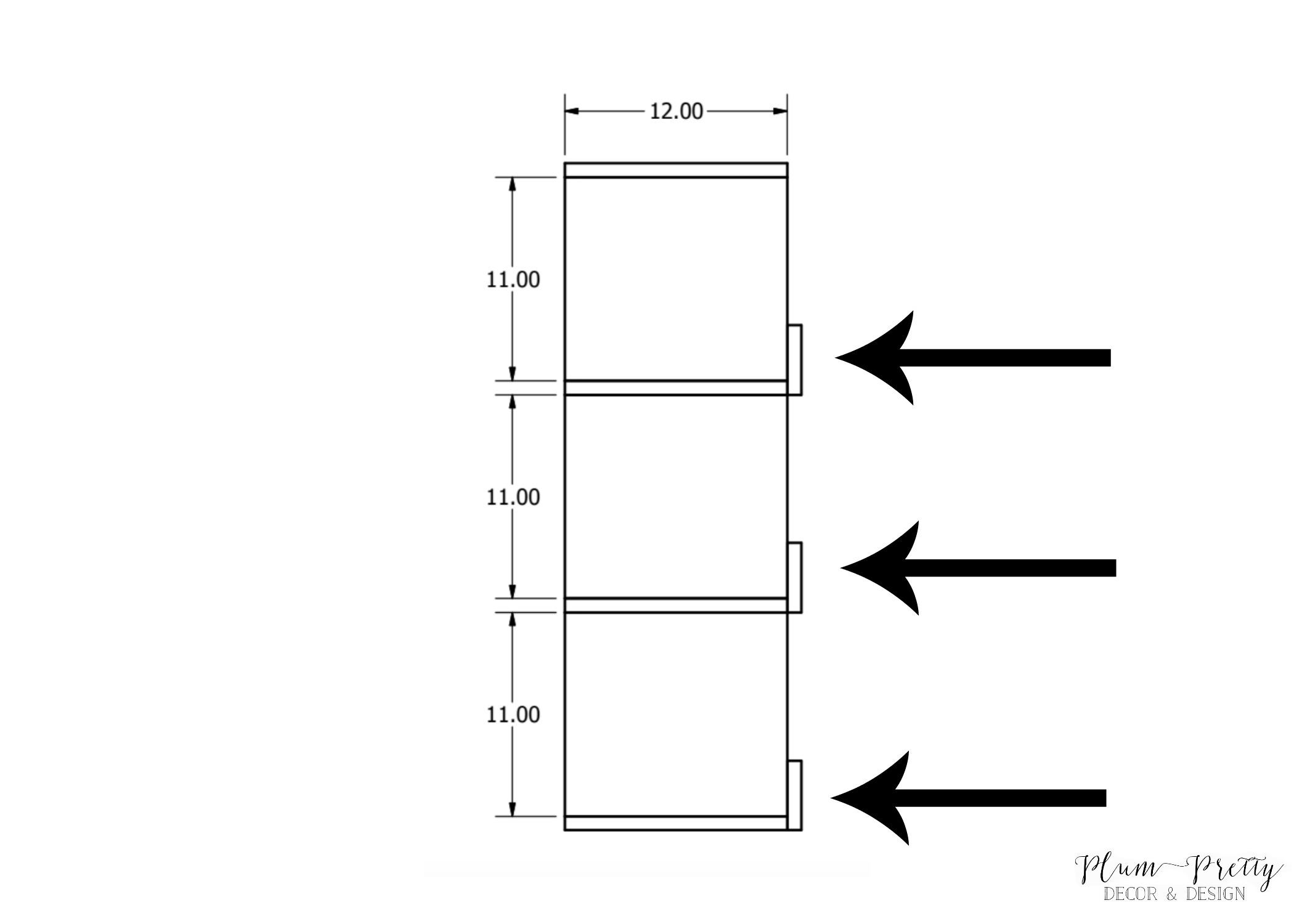 DIY Farmhouse Nesting Box tutorial- 1x4 Placement on Non-Drawer Boxes- Plum Pretty Decor and Design