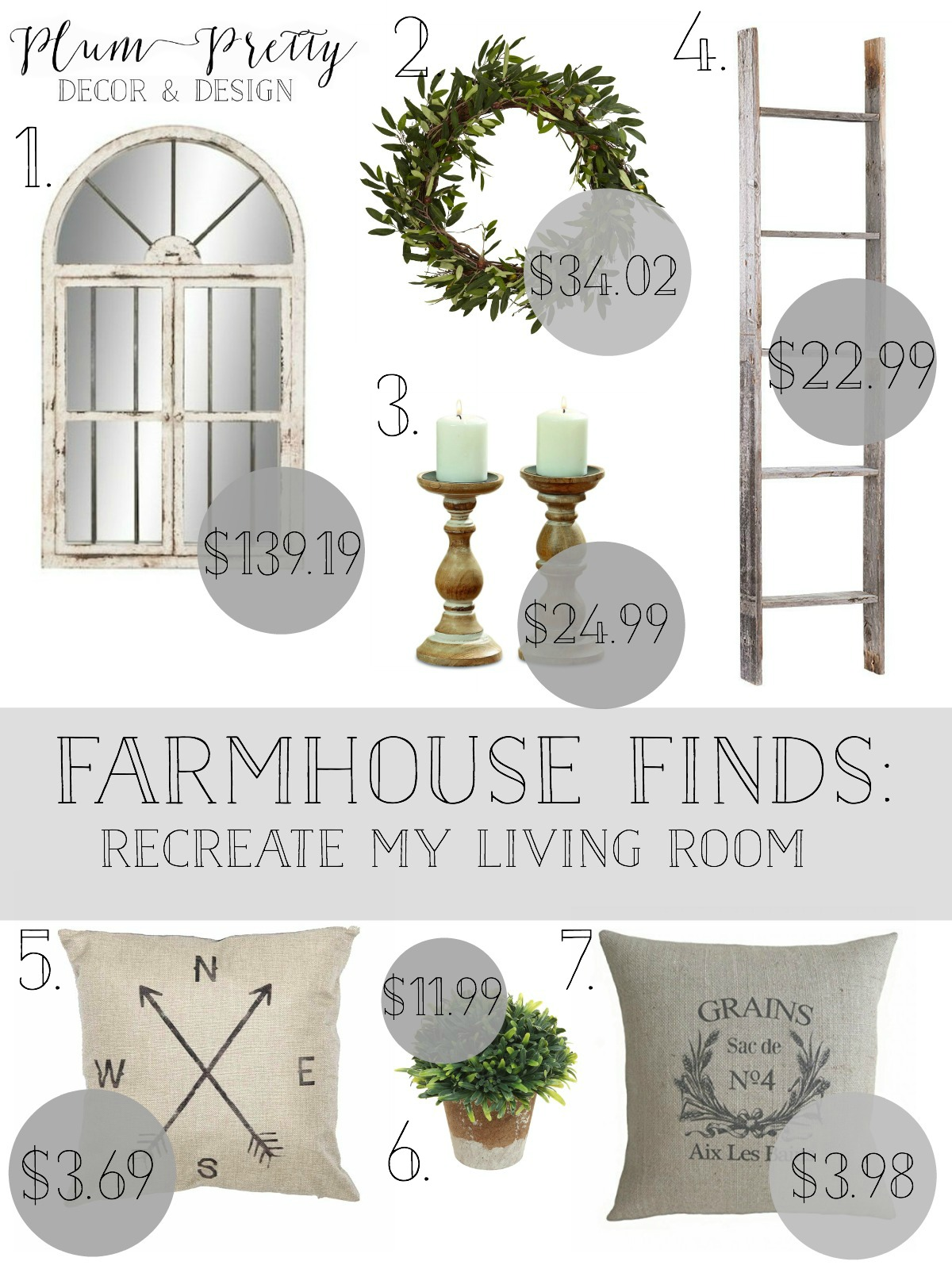 Friday Farmhouse- Living Room- Recreate Plum Pretty Decor and Designs Living Room with These Affordable Farmhouse Finds.