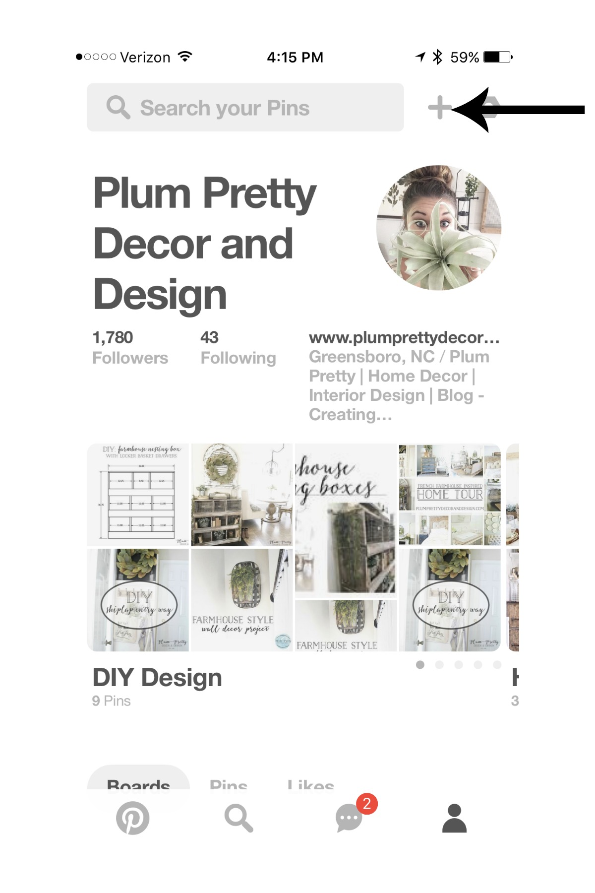 4. Pull up your Pinterest Profile Page and Click the + sign in the right upper corner