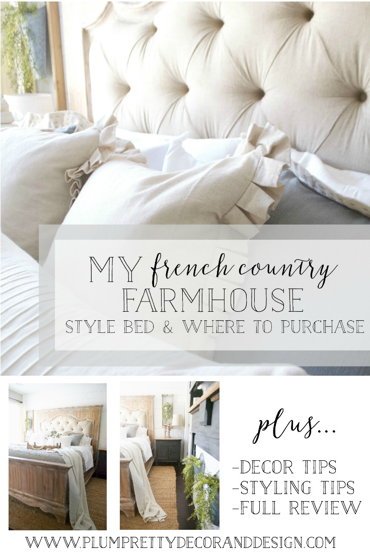 French Farmhouse Style Bed- Tufted Headboard- Plum Pretty Decor and Design