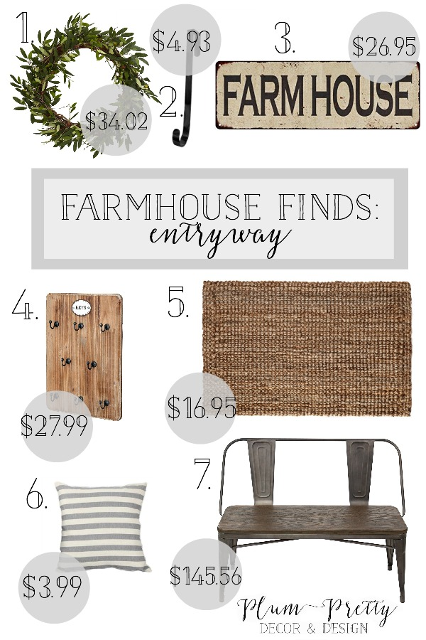 Farmhouse Finds- Affordable Farmhouse Decor for Your Entryway- Plum Pretty Decor and Design