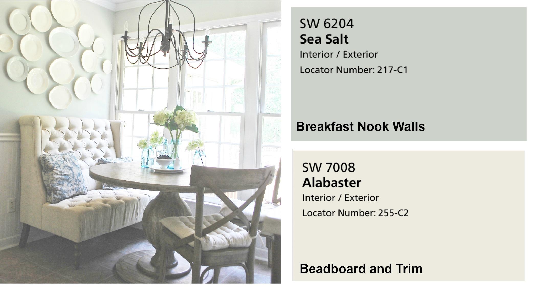 Farmhouse Paint Colors- Breakfast Nook in Sea Salt. Full Home Color Scheme at Plumprettydeoranddesign.com