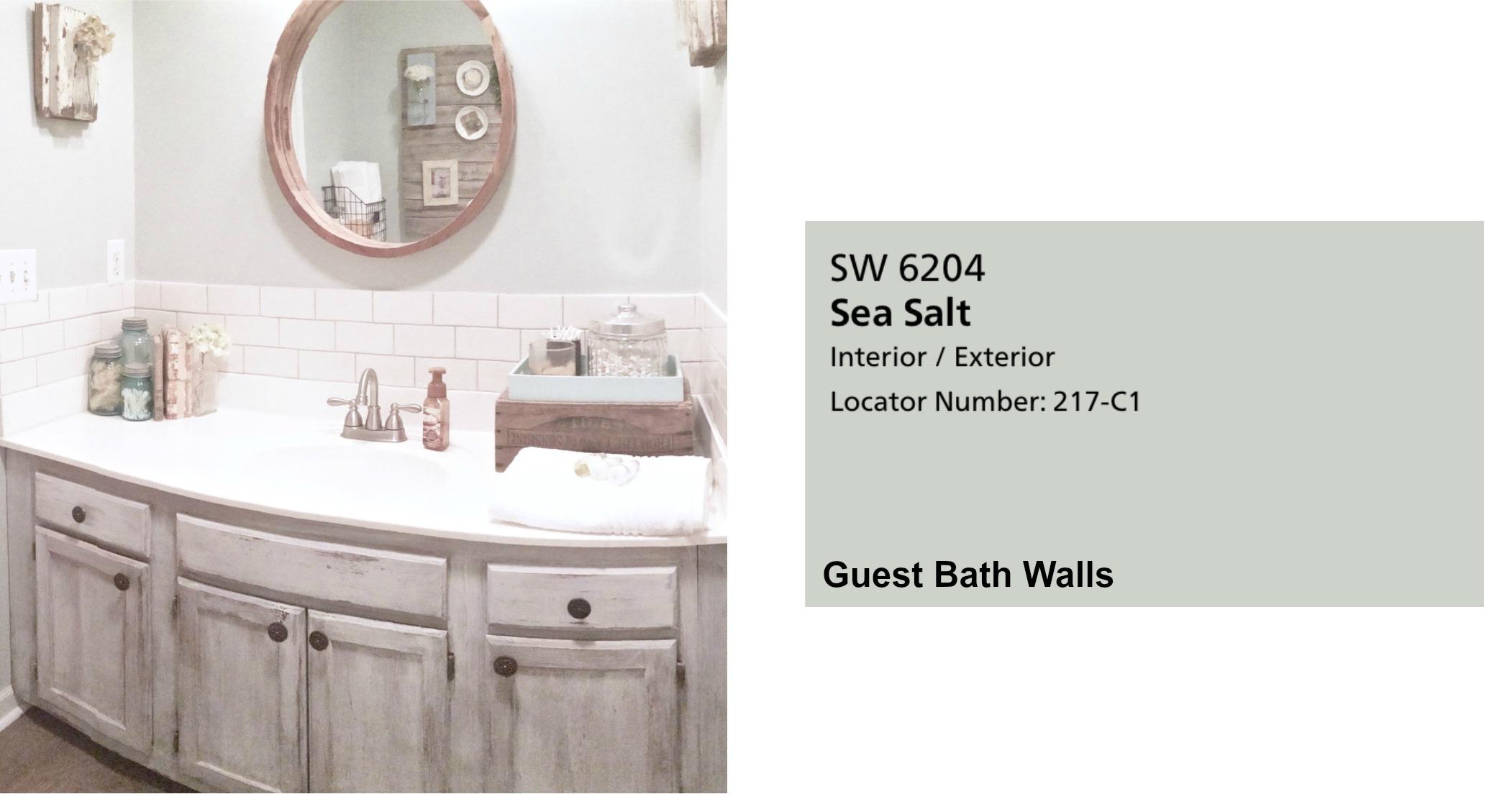 Farmhouse Paint Colors- Guest Bathroom Color. Full Home Color Scheme at Plumprettydeoranddesign.com