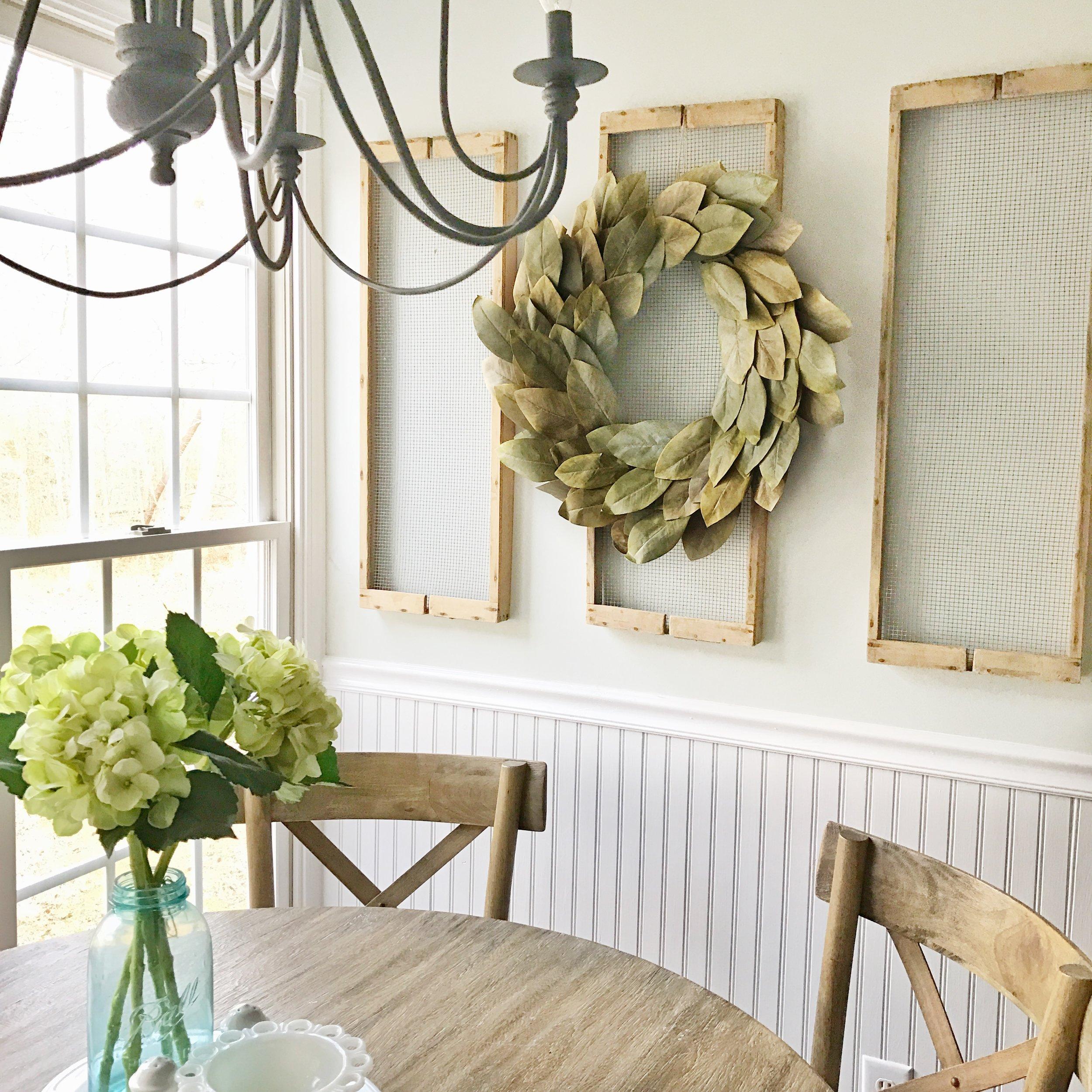 Breakfast Nook Wall Decor Refresh- Antique Drying Racks. Plum Pretty Decor and Design