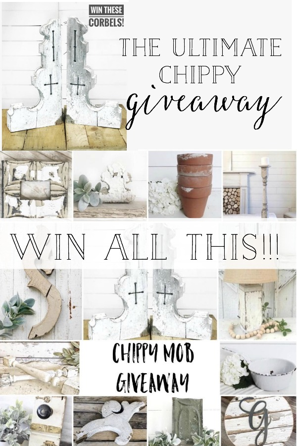 One lucky WINNER will get all this Chippy Goodness! Including a set of HUGE CORBELS. Visit Plum Pretty Decor and Design to find out how to enter.