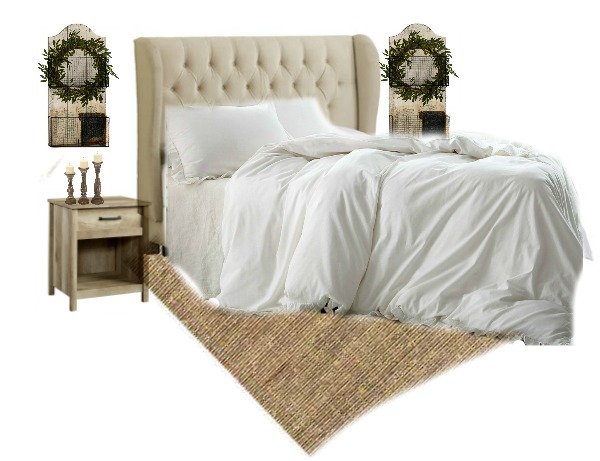 Farmhouse Style Bedroom- Recreate Plum Pretty Decor and Design's Bedroom with these items and links.