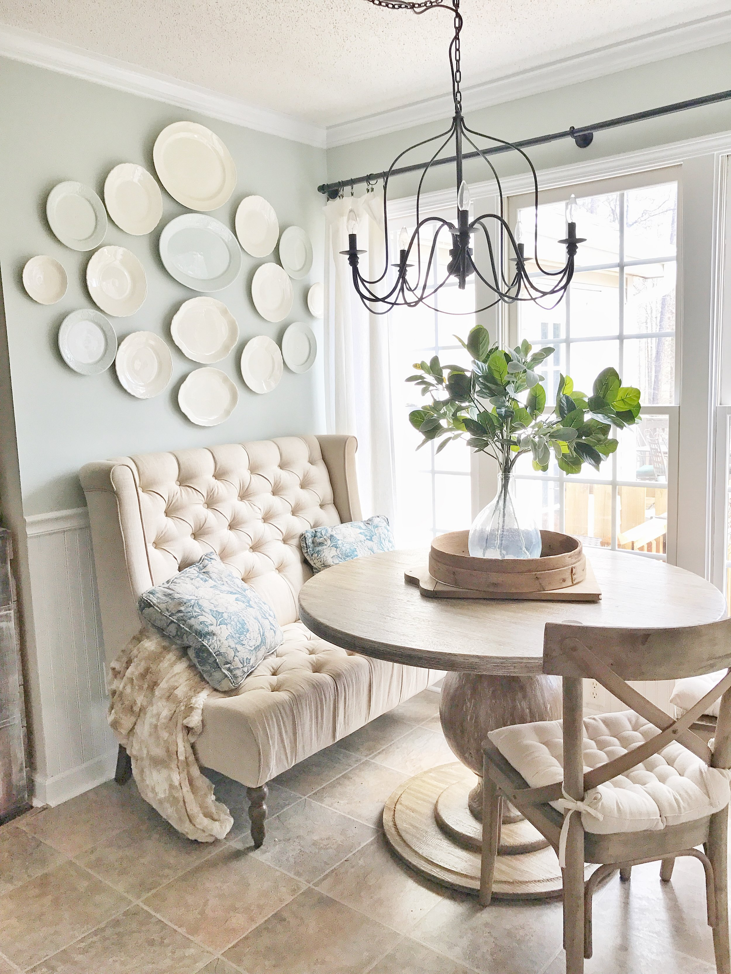 Home Tour- Farmhouse Style Breakfast Nook with a White Plate Wall by Plum Pretty Decor and Design