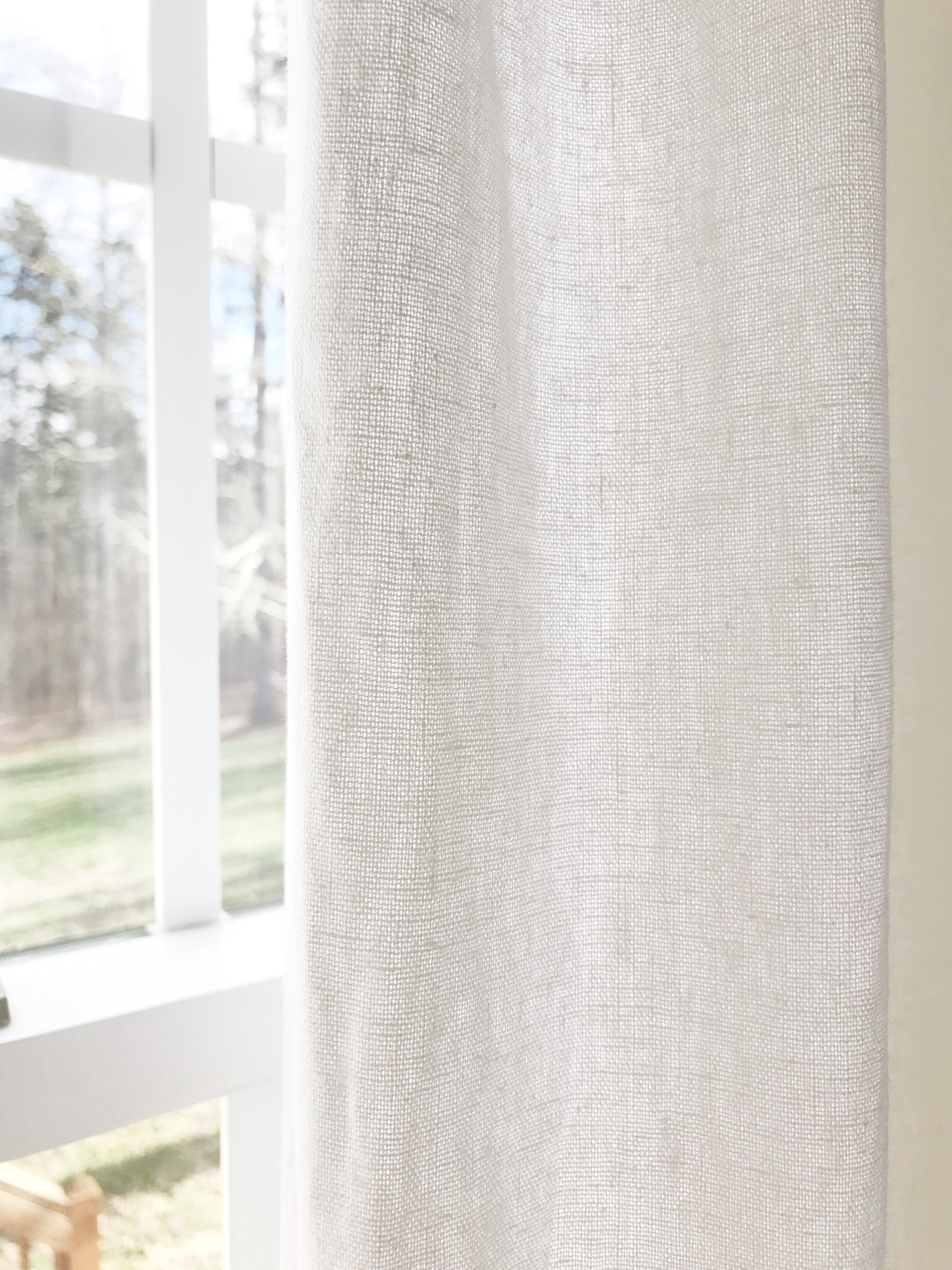 Home Tour- Farmhouse Style Breakfast Nook With French Linen Curtains by Plum Pretty Decor and Design