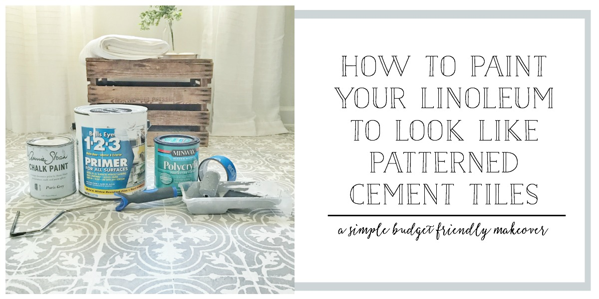 How to Paint Your Linoleum or Tile Floors to Look Like Patterned Cement Tiles- Simple Budget Friendly Makeover