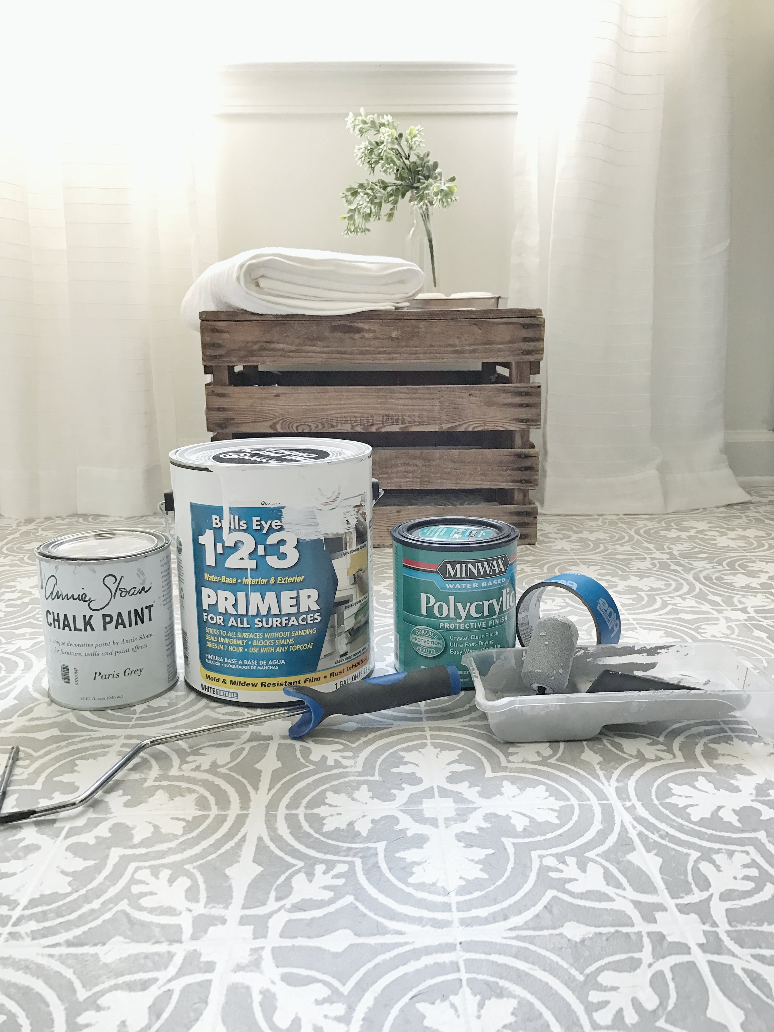 Plum Pretty Decor Design Co How To Paint Your Linoleum Or Tile Floors To Look Like Patterned Cement Tiles Full Tutorial