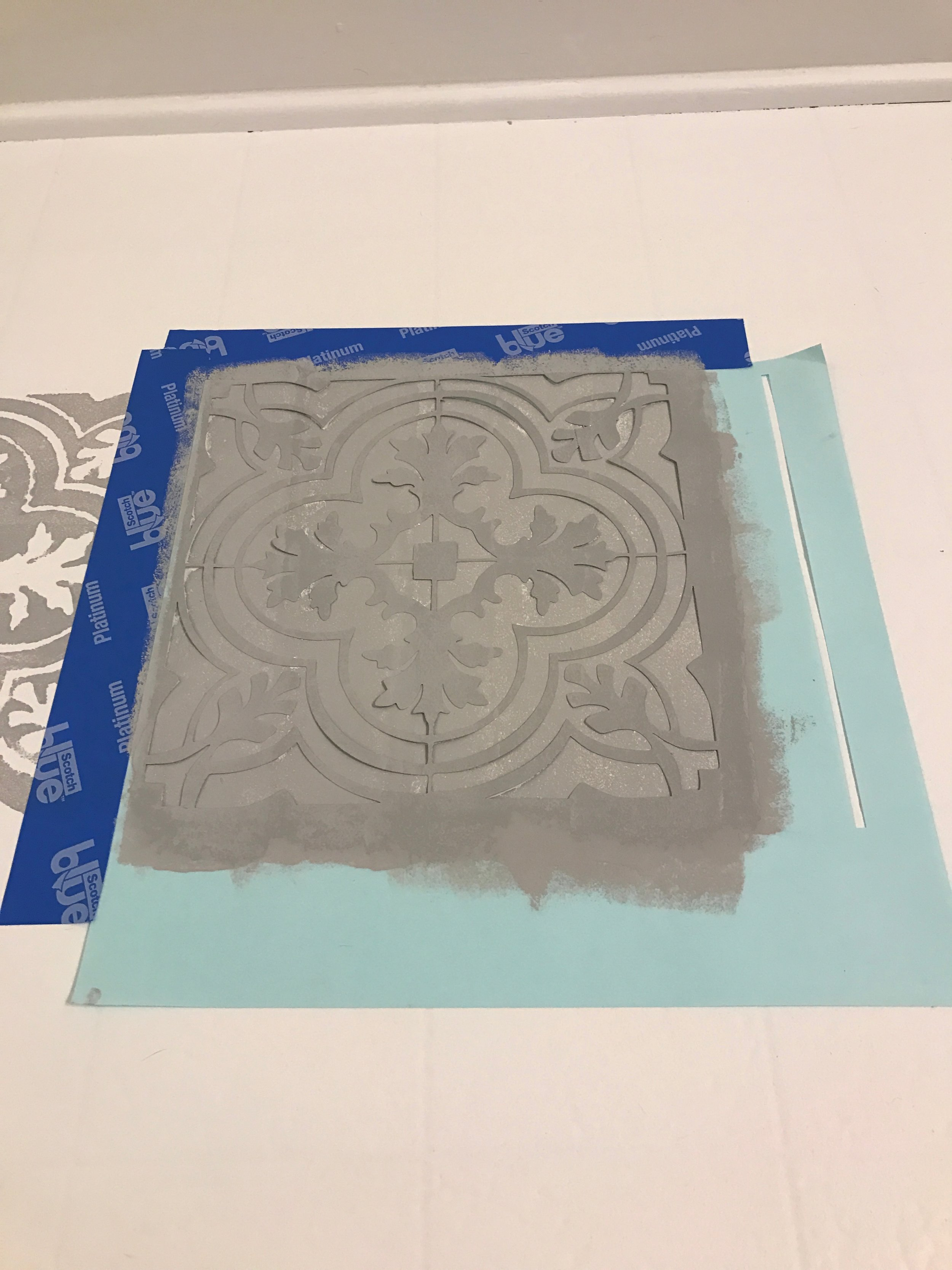 How to Paint Your Linoleum or Tile Floors to Look Like Patterned Cement Tile- Free Stencil Download for you Silhouette Cameo Machine