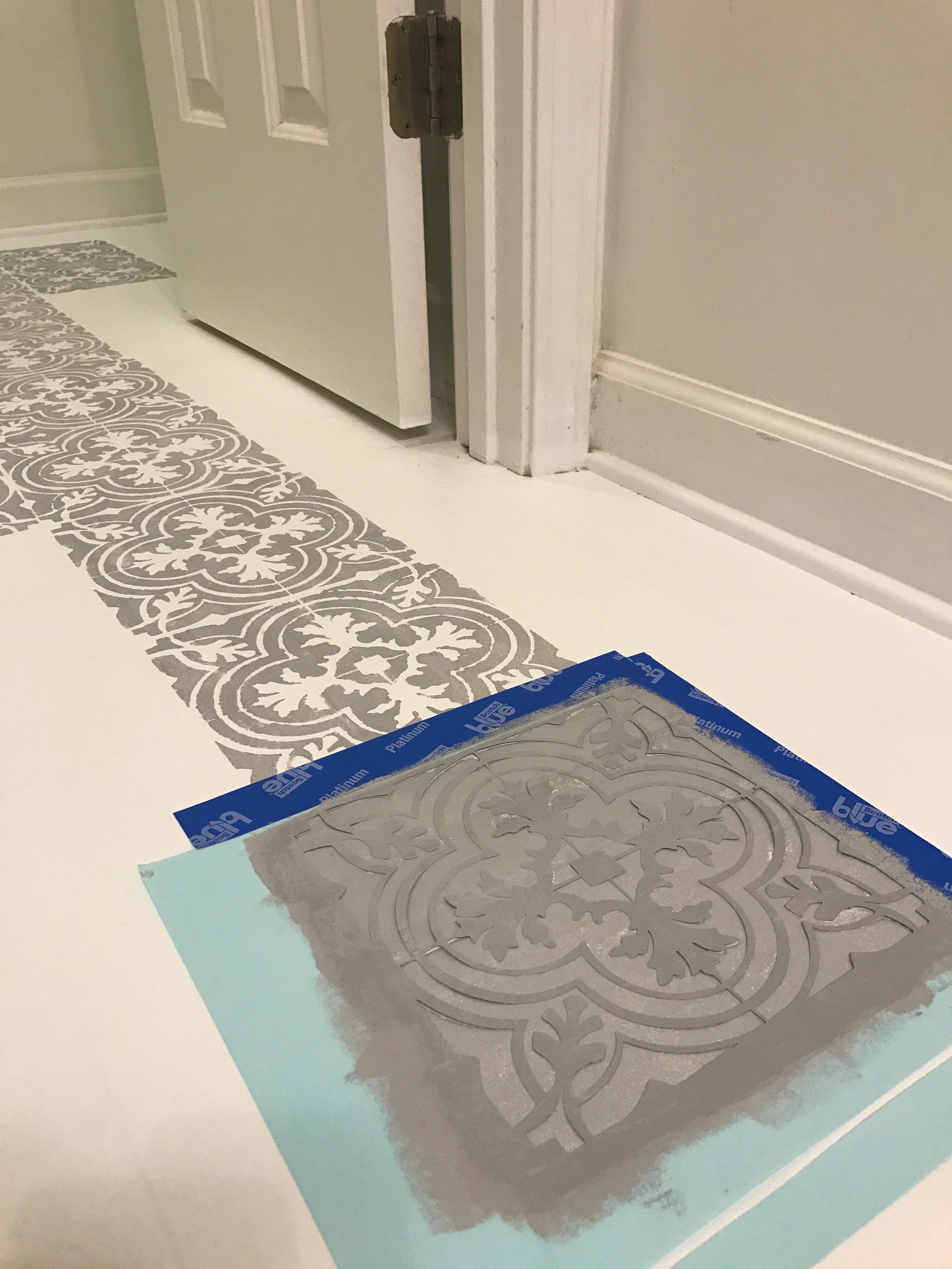 How to Paint Your Linoleum or Tile Floors to Look Like Patterned Cement Tiles- Full DIY Tutorial