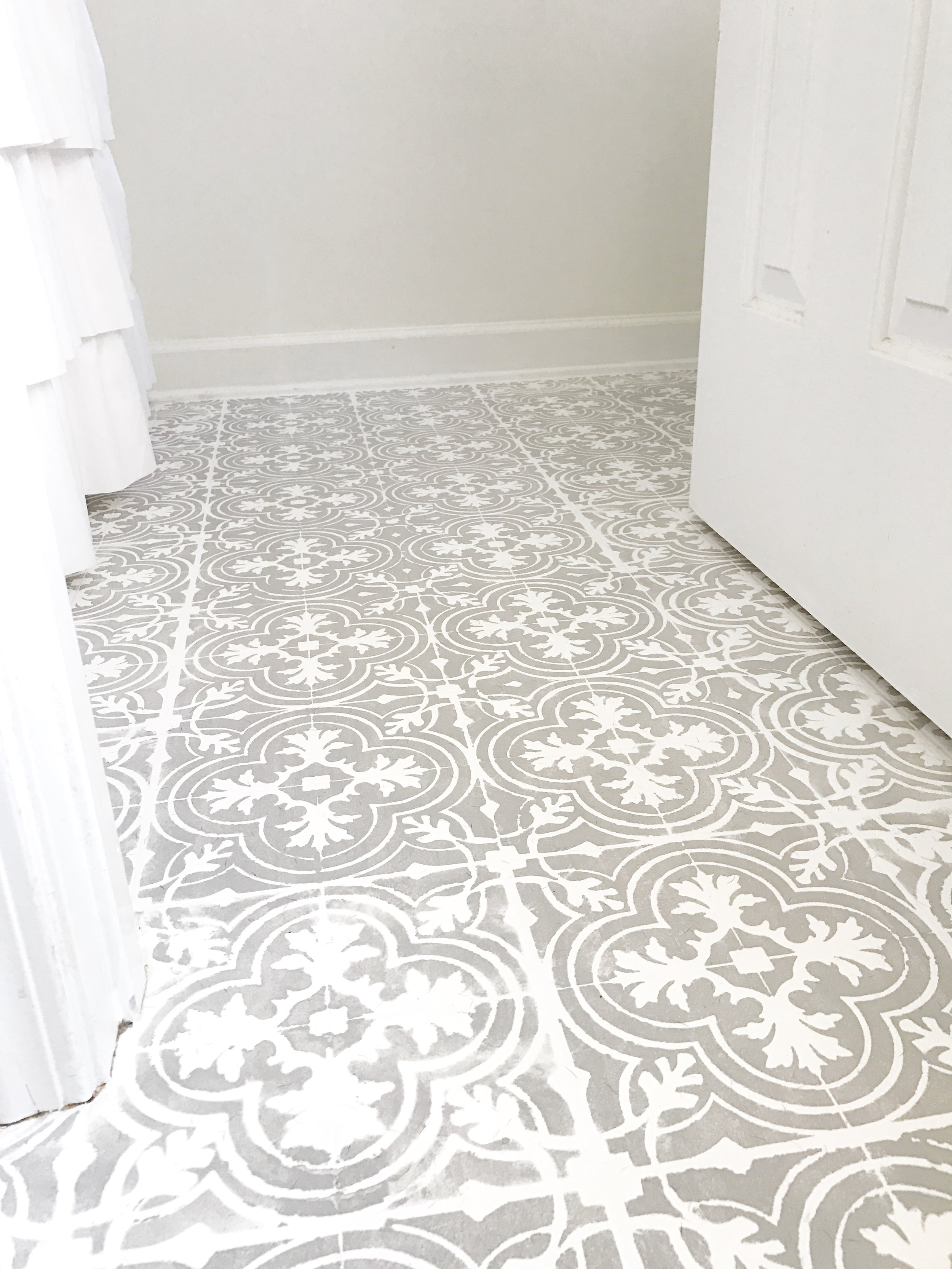 DIY Tutorial-- How to Paint Your Linoleum or Tile Floors to Look Like Patterned Cement Tiles By Plum Pretty Decor and Design