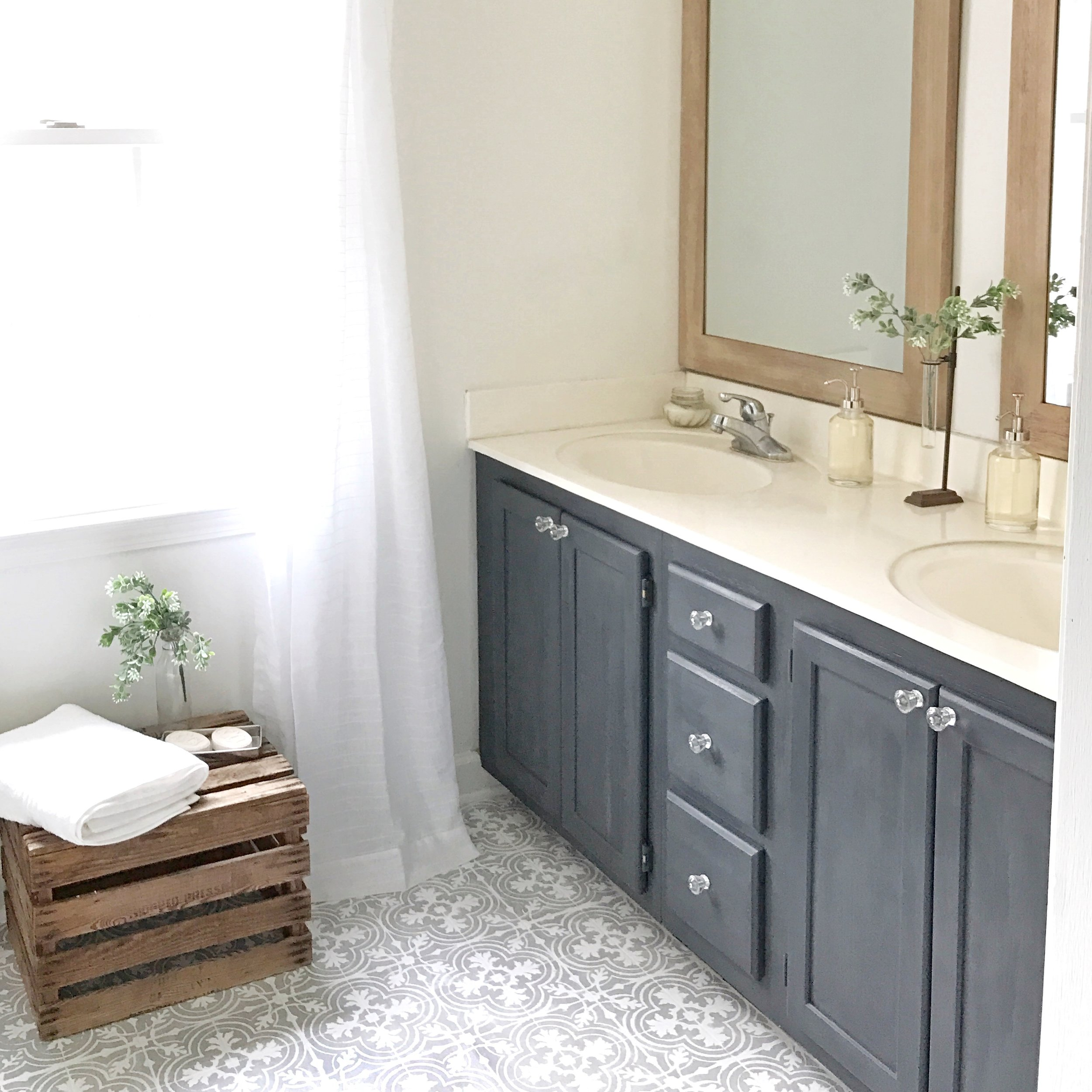 DIY Tutorial- How to Paint Your Linoleum or Tile Floors to Look Like Patterned Cement Tiles- Full Bathroom Makeover by Plum Pretty Decor and Design