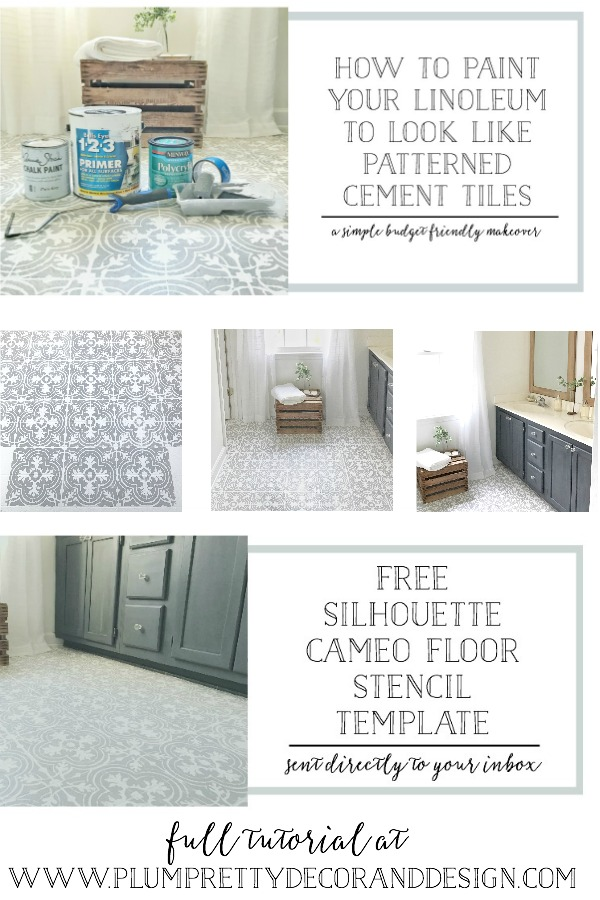 DIY Tutorial with FREE Stencil Download- How to Paint Your Linoleum or Tile Floors to Look Like Patterned Cement Tiles By Plum Pretty Decor and Design