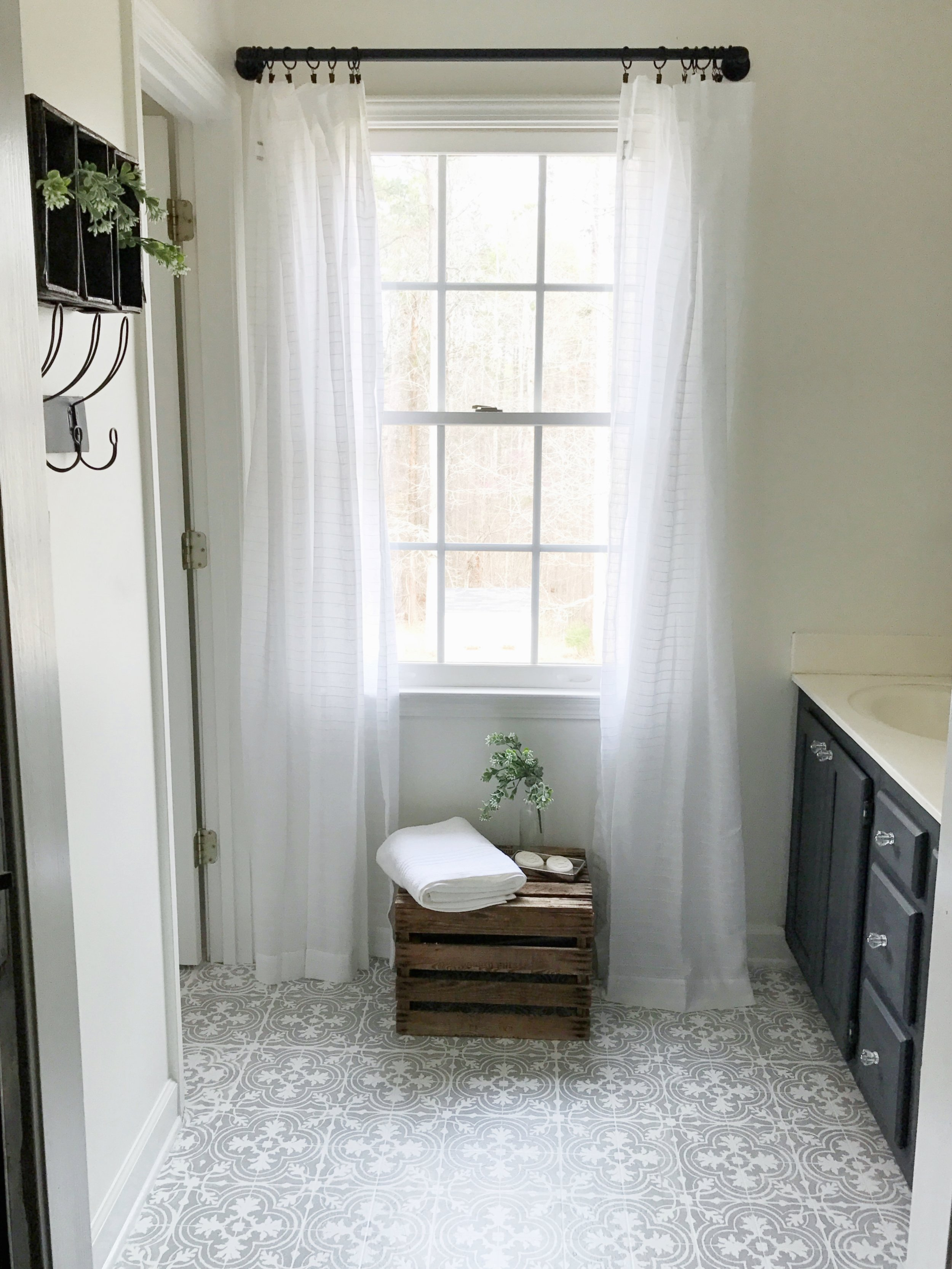 Full Tour- Weekend Budget Friendly Master Bathroom Makeover with Painted Floors by Plum Pretty Decor and Design