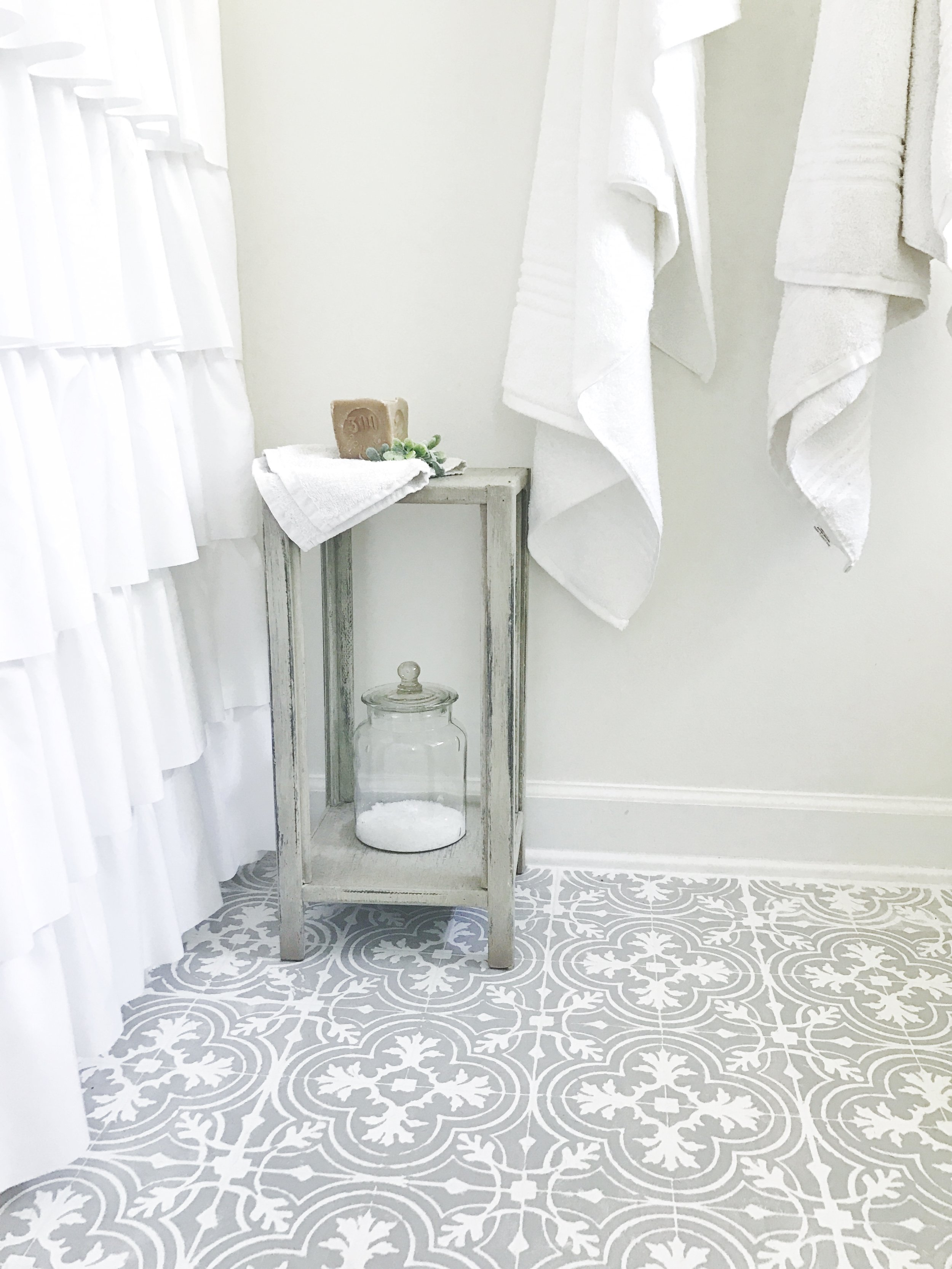 Full Farmhouse Bathroom Tour- Budget Friendly Weekend Makeover by Plum Pretty Decor and Design