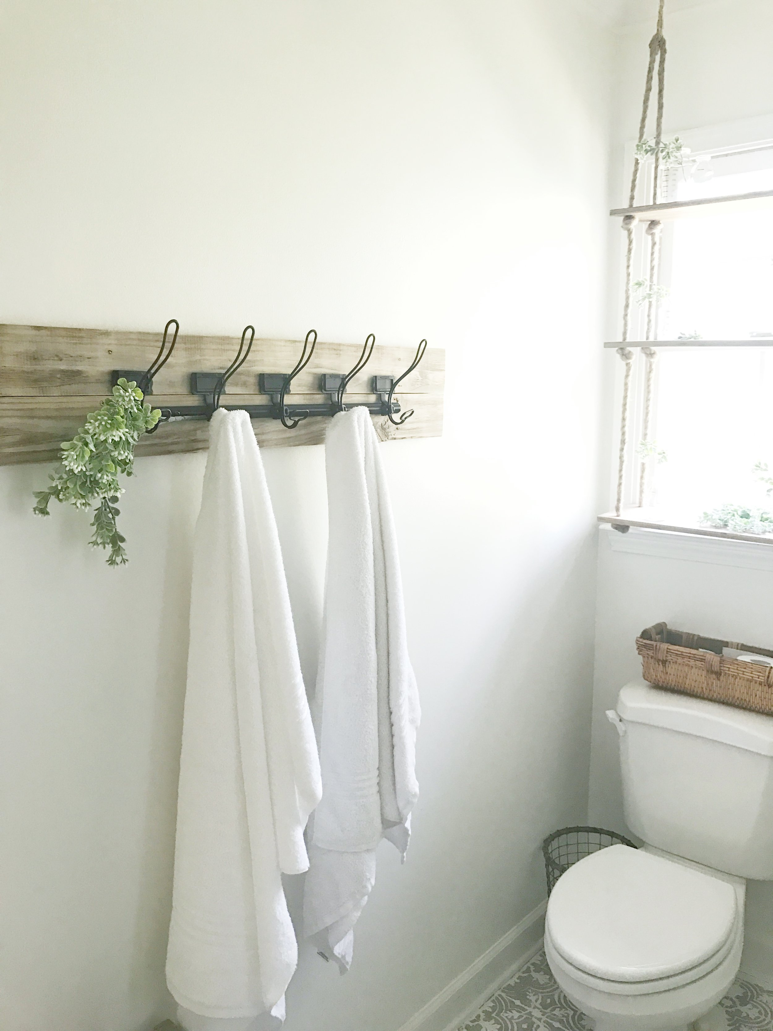 Full Farmhouse Master Bathroom Tour- How I spent only $500 and one weekend to completely transform my bathroom- Plum Pretty Decor and Design