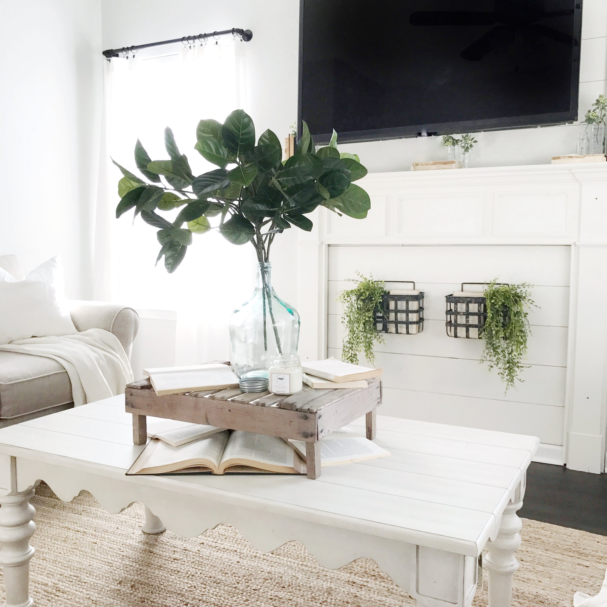 Farmhouse Style Living Room with Magnolia Home Coffee Table- Interior Design Project by Plum Pretty Decor and Design