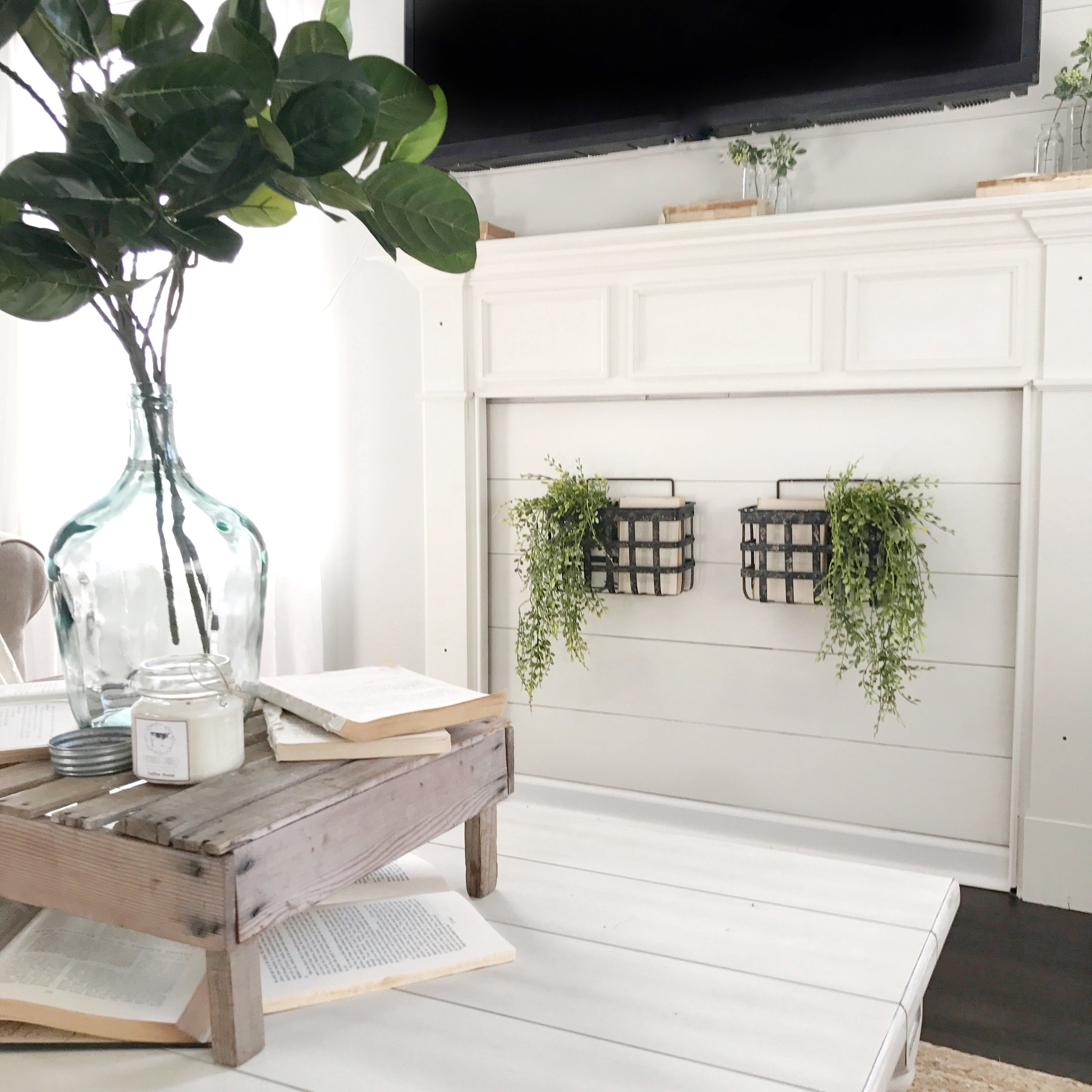 Farmhouse Style Living Room with Faux Shiplap Fireplace- Interior Design by Plum Pretty Decor and Design
