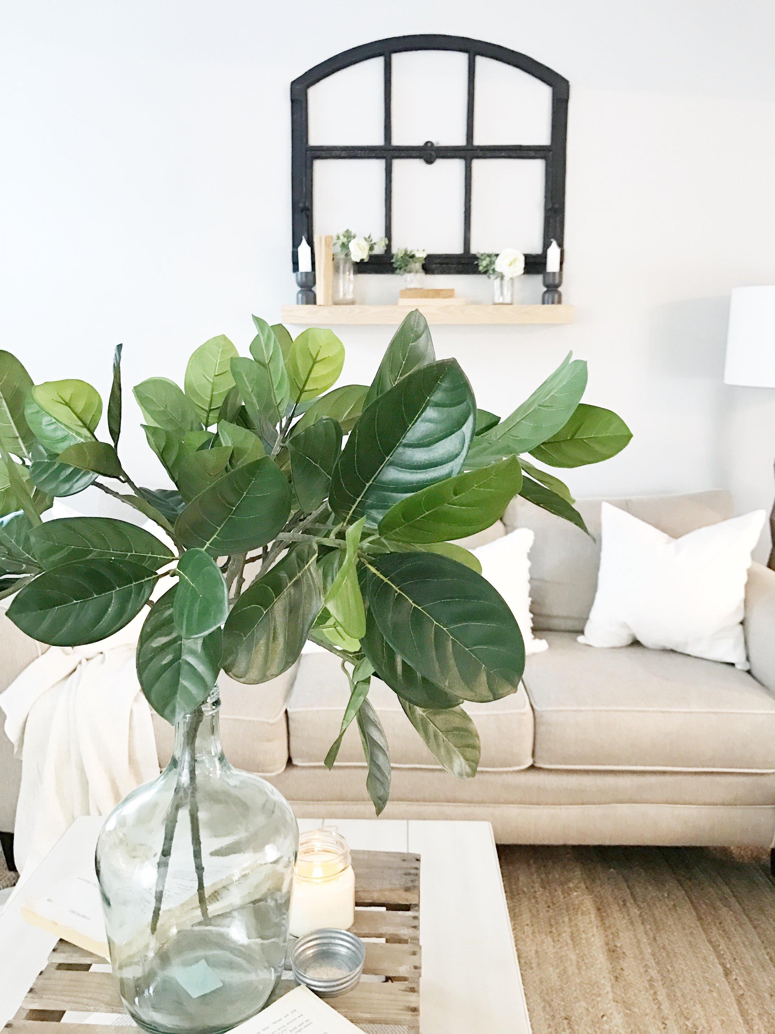Farmhouse Style Living Room Coffee Table Center Piece- Fixer Upper Style- Interior Design by Plum Pretty Decor and Design