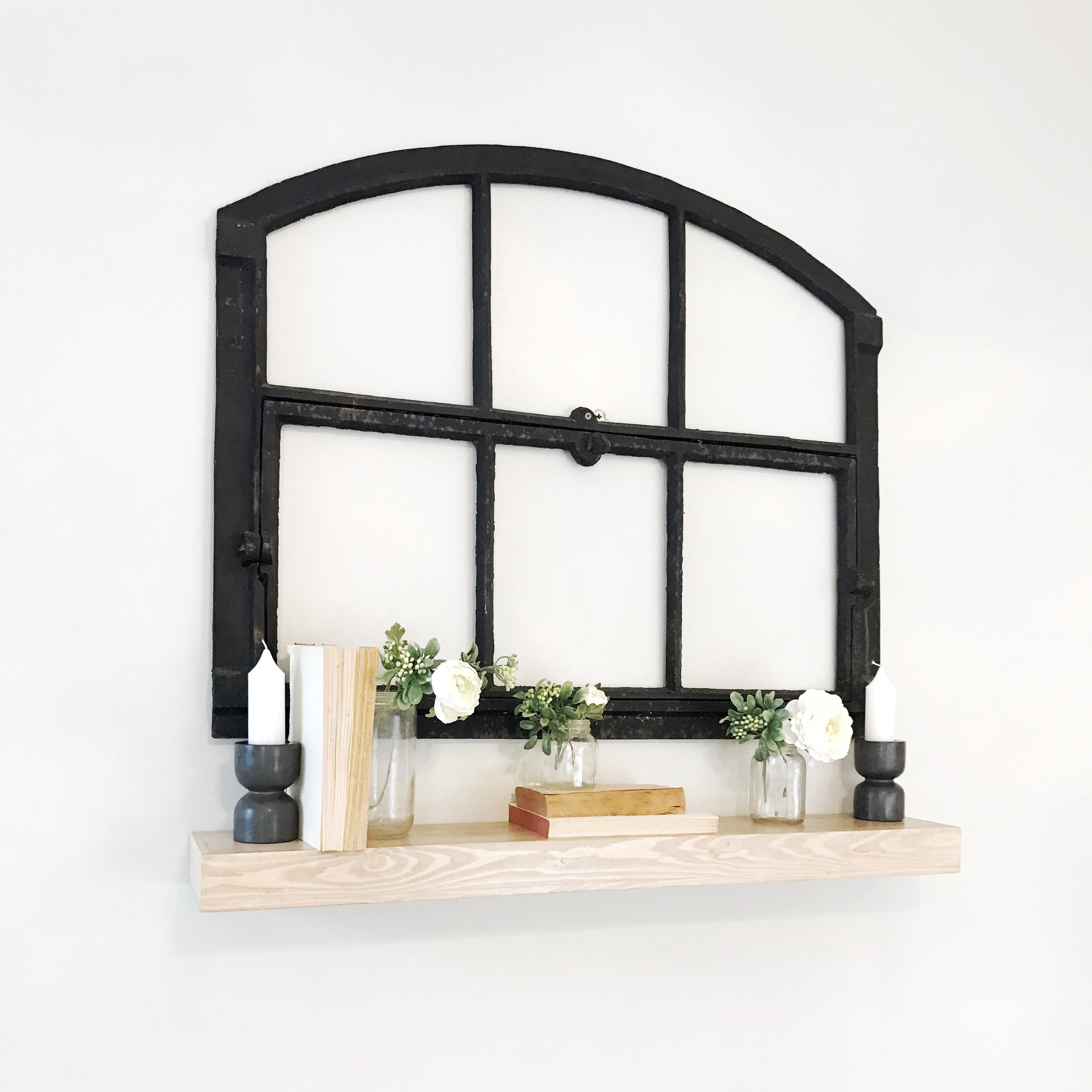 Farmhouse Style Living Room-Architectual Iron Arched window- Interior Design by Plum Pretty Decor and Design