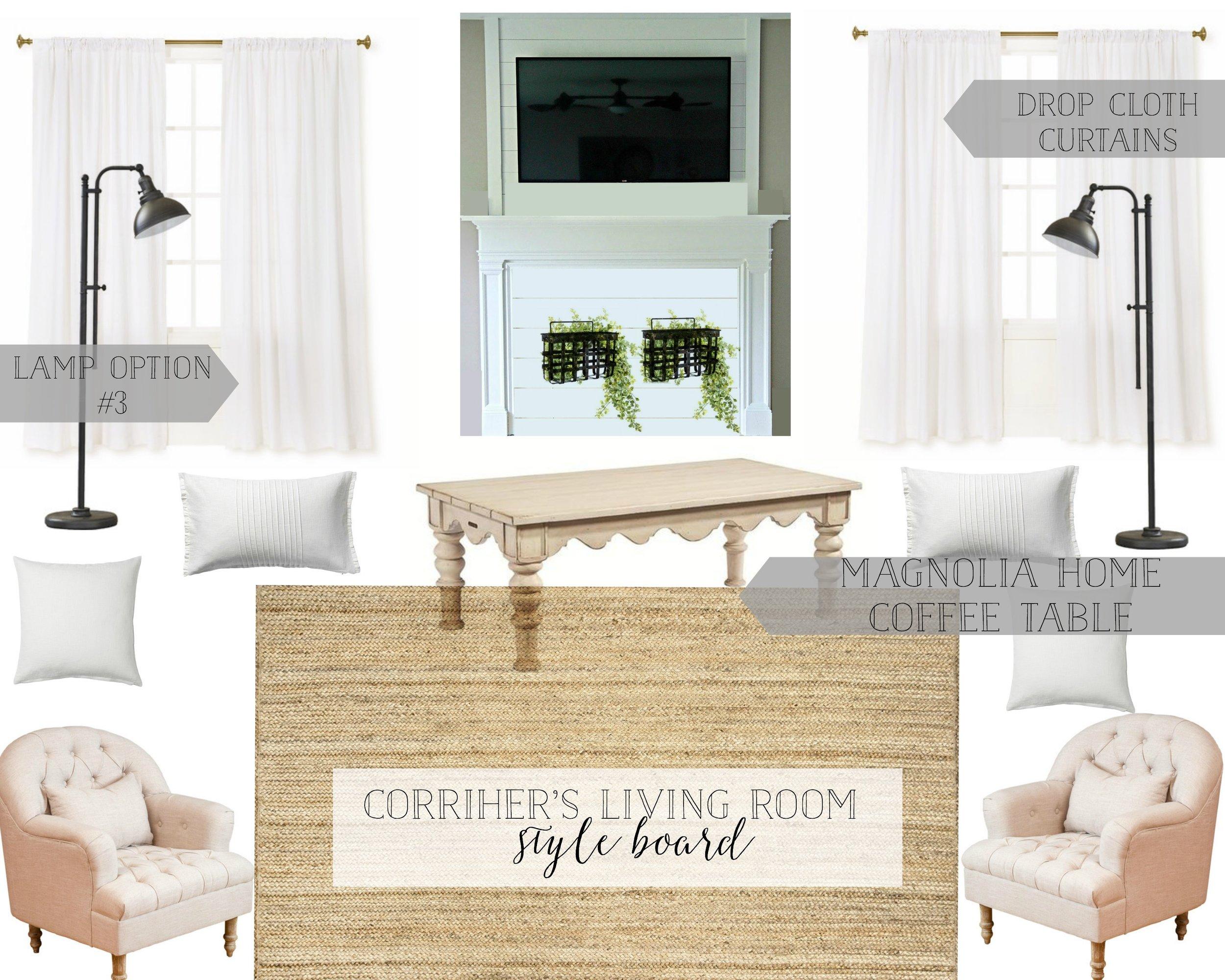 Farmhouse Living Room Style Board- Plum Pretty Decor and Design