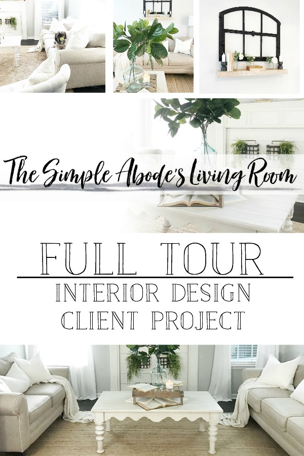 Full Tour- Farmhouse Style Living Room Interior Design Client Project- by Plum Pretty Decor and Design