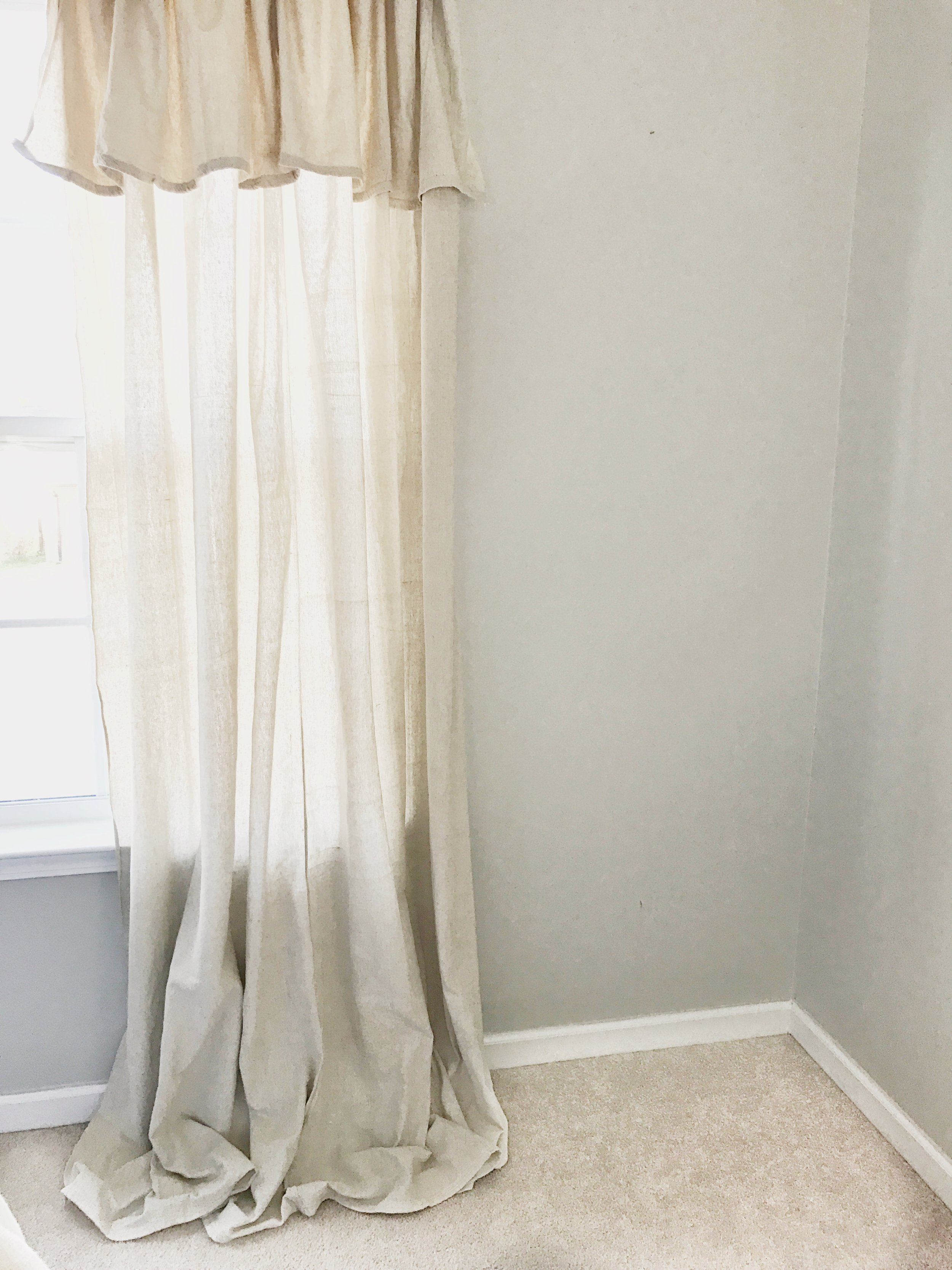 The Simple Abode's Farmhouse Style Master Bedroom- Drop Cloth Curtains- Interior Design by Plum Pretty Decor and Design