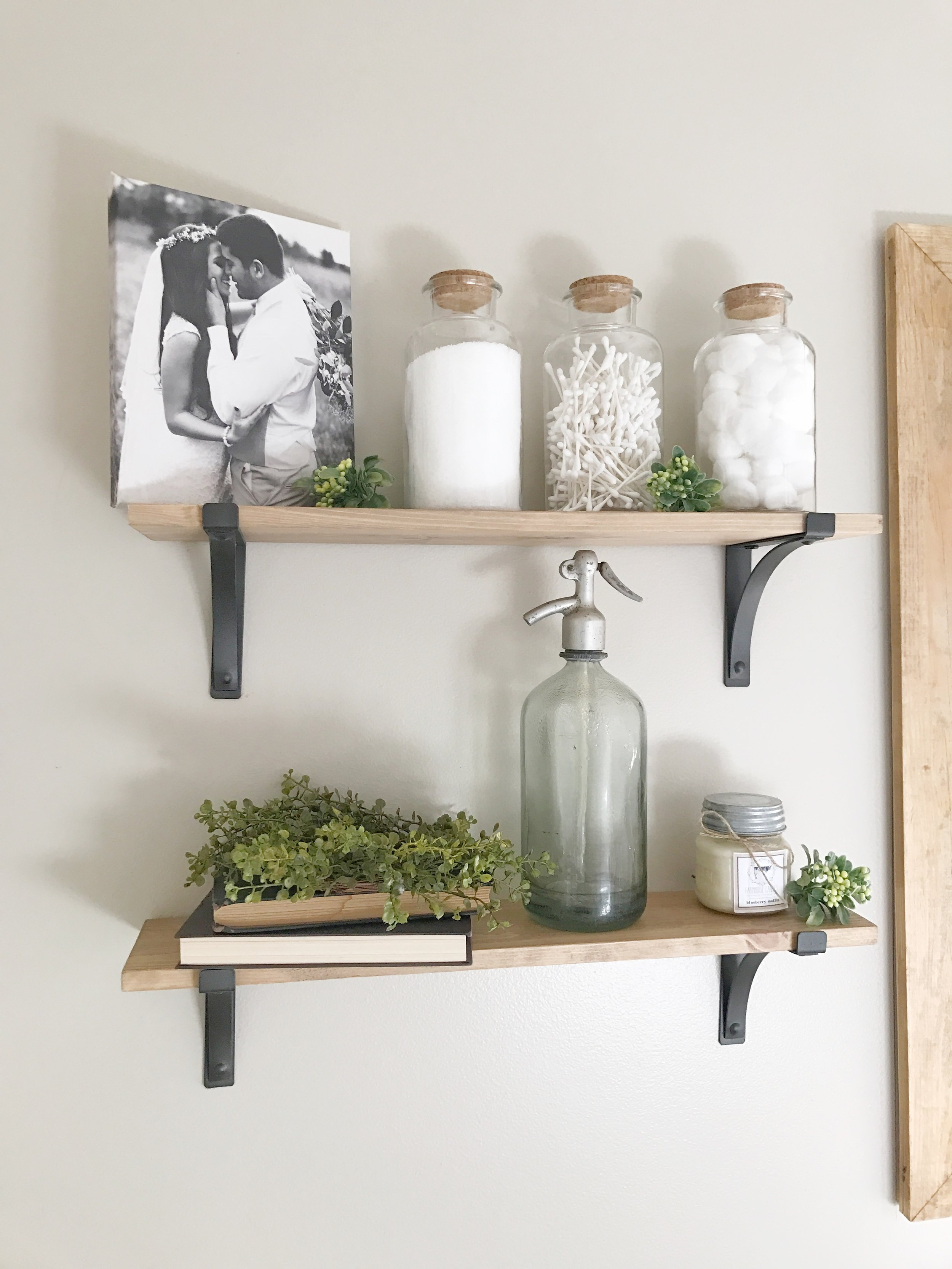The Simple Abode Interior Design Project- Farmhouse Style Bathroom Styled Wooden Shelves- By Plum Pretty Decor and Design