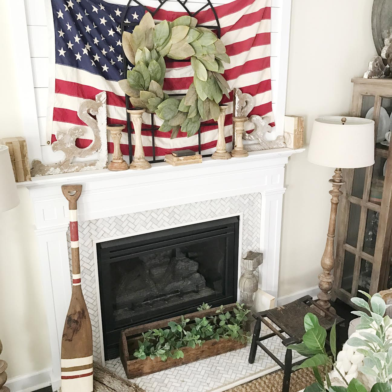 Fourth of July Farmhouse Living Room Tour by Plum Pretty Decor and Design