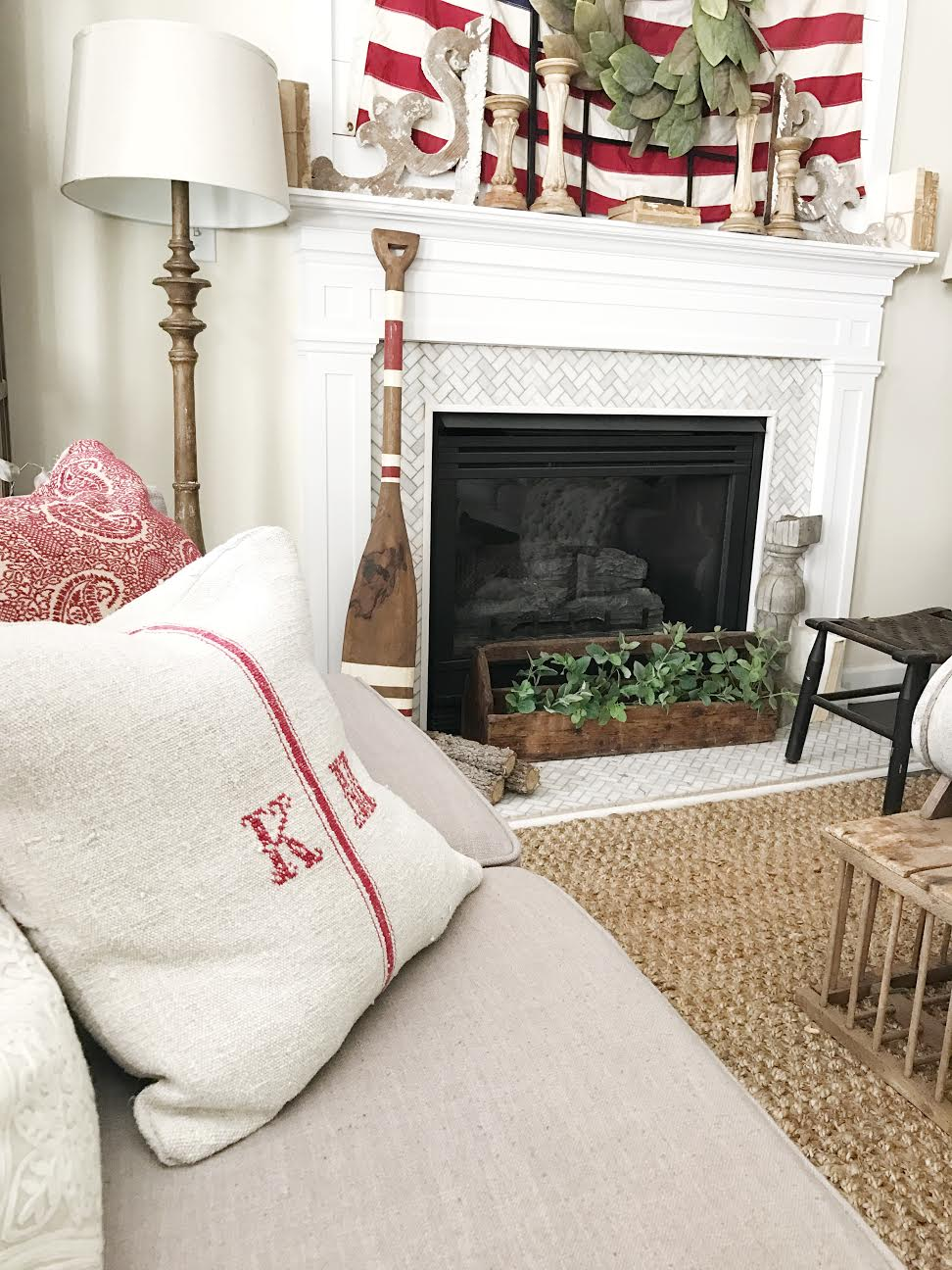 Farmhouse Fourth of July Living Room Tour by Plum Pretty Decor and Design