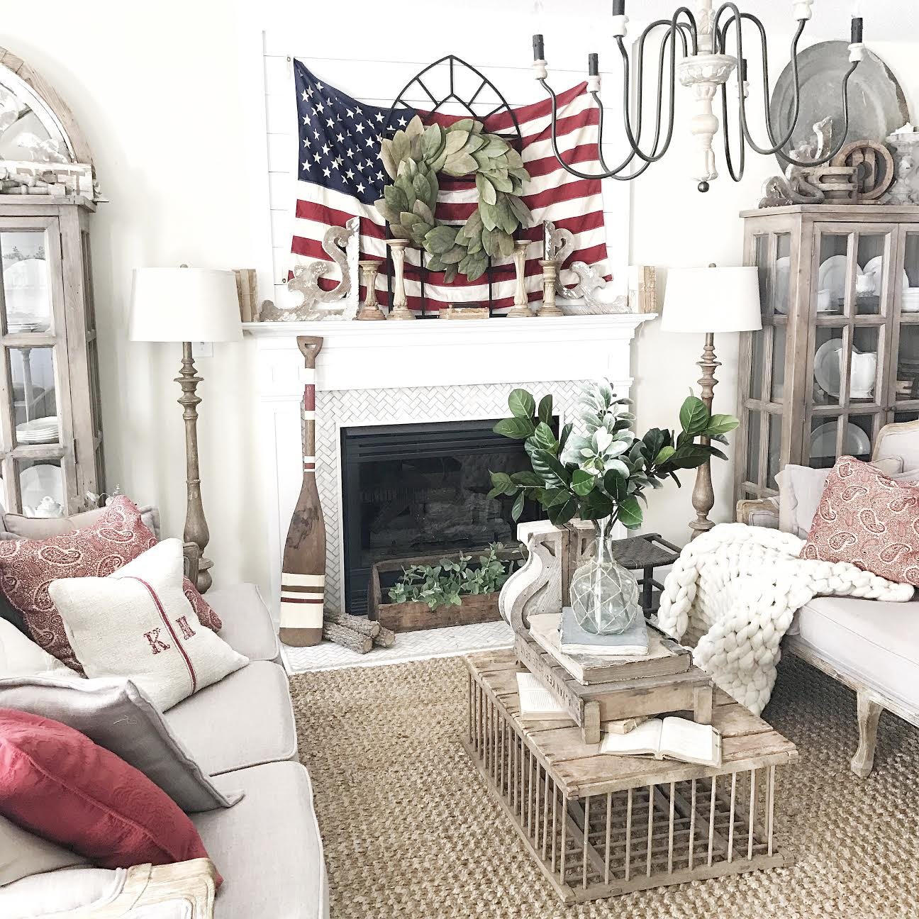 Fourth Of July Farmhouse Decor- Living Room Styling by Plum Pretty Decor and Design