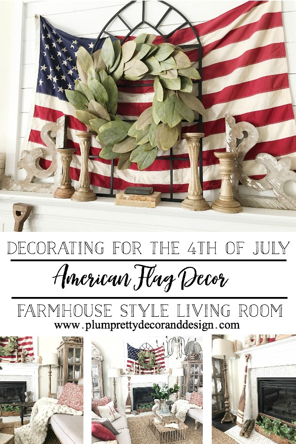 American Flag used in this living room for the perfect 4th of July decor.