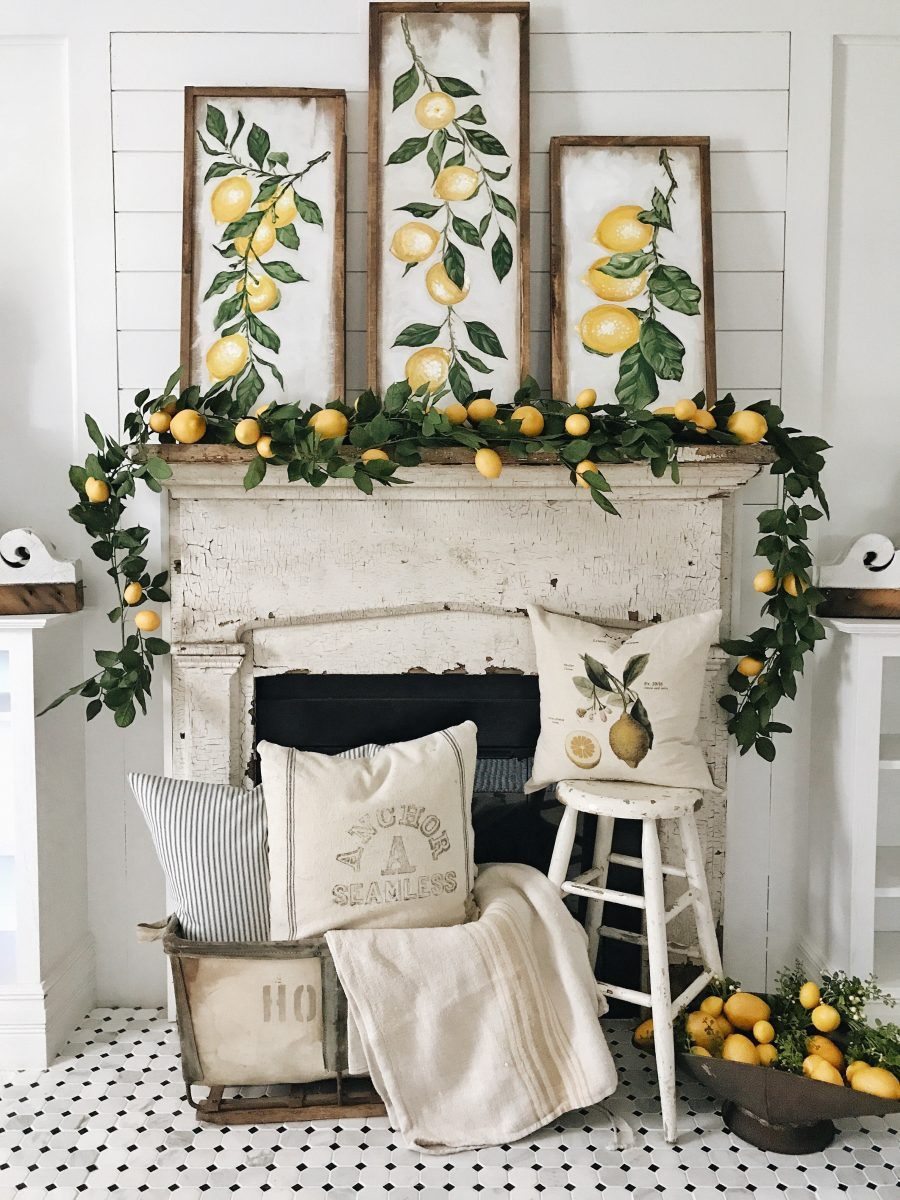 Liz Marie's beautiful lemon mantel--{ CLICK HERE } to see it on her blog.