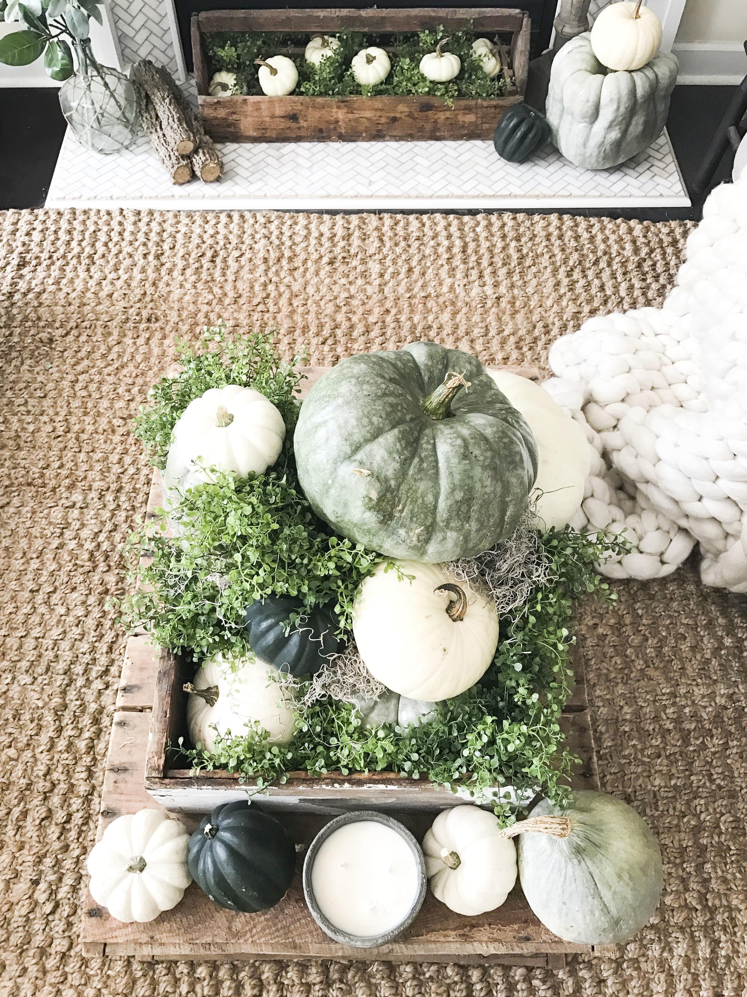 Fall into our Homes- Fall Home Tour inside Plum Pretty Decor and Designs Fall Home- Fall Living Room Decor- Pumpkin Coffee Table Centerpiece