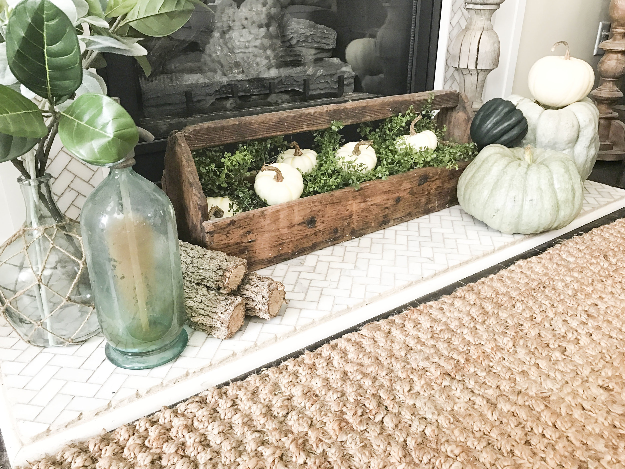 Fall into our Homes- Fall Home Tour inside Plum Pretty Decor and Designs Fall Home- Living Room Fall Decor- Pumpkin Fireplace Decor
