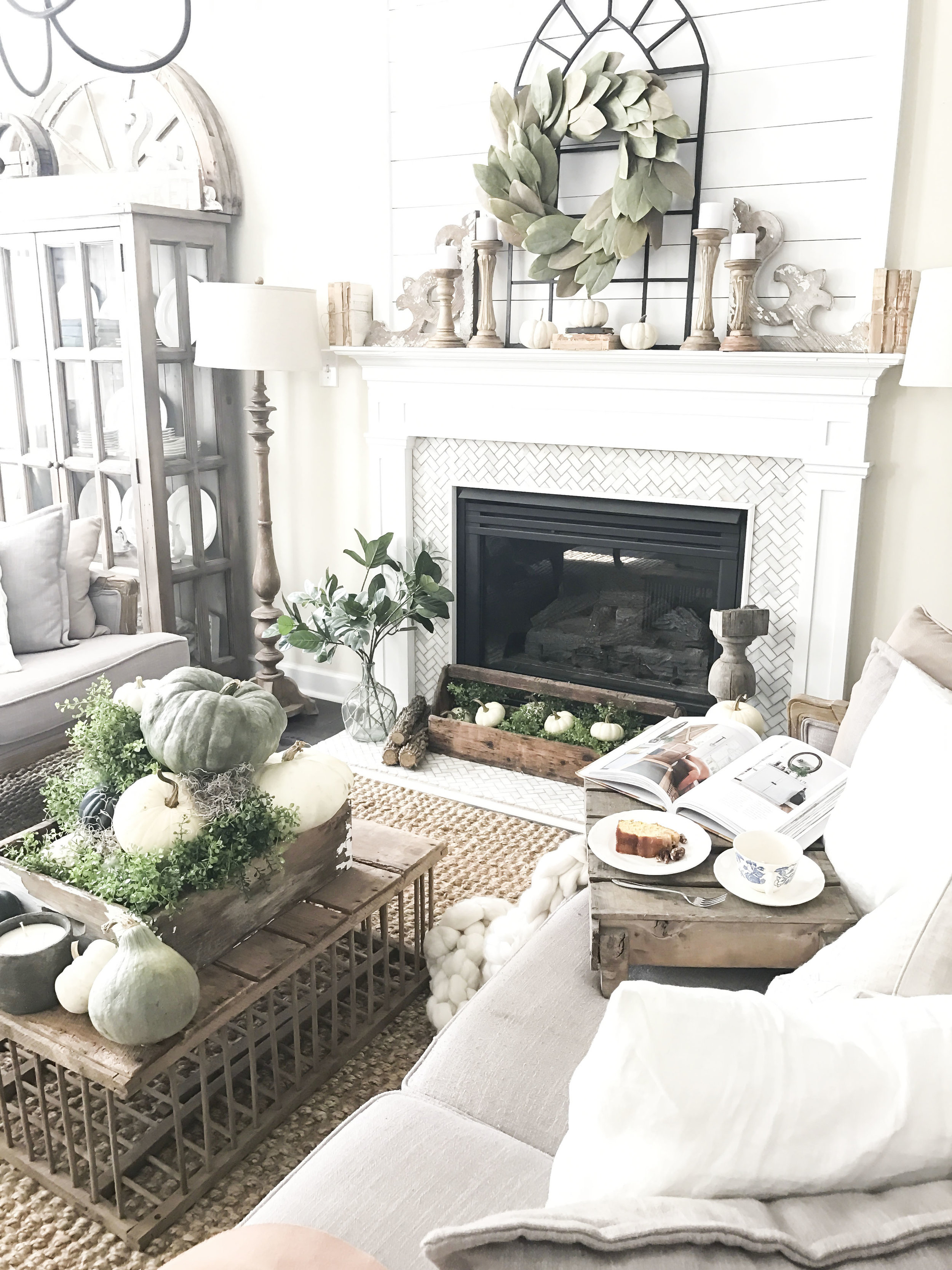 Fall Home Tour inside Plum Pretty Decor and Designs Fall Home- Living Room Neutral Fall Decor- Green, Blue and White Pumpkins