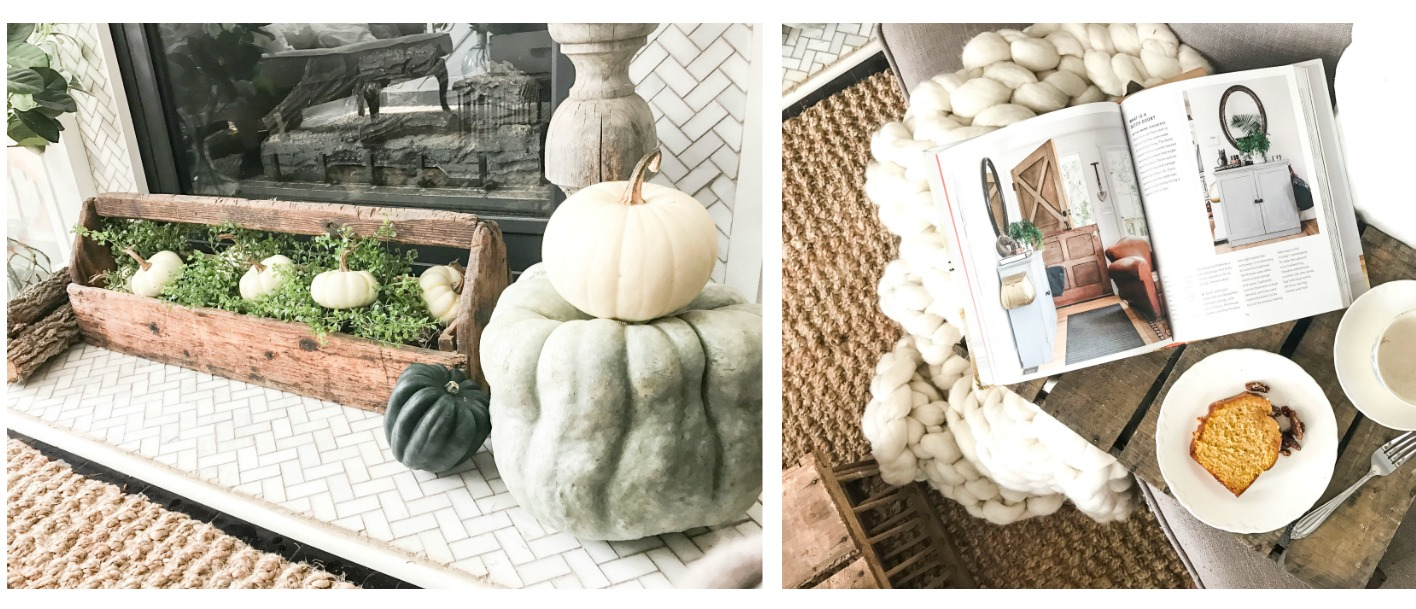 Fall Home Tour inside Plum Pretty Decor and Designs Fall Home- City Farmhouse Style Book and Chunky Knit Blanket- Cuddle Up in Fall Decor Around the Fireplace