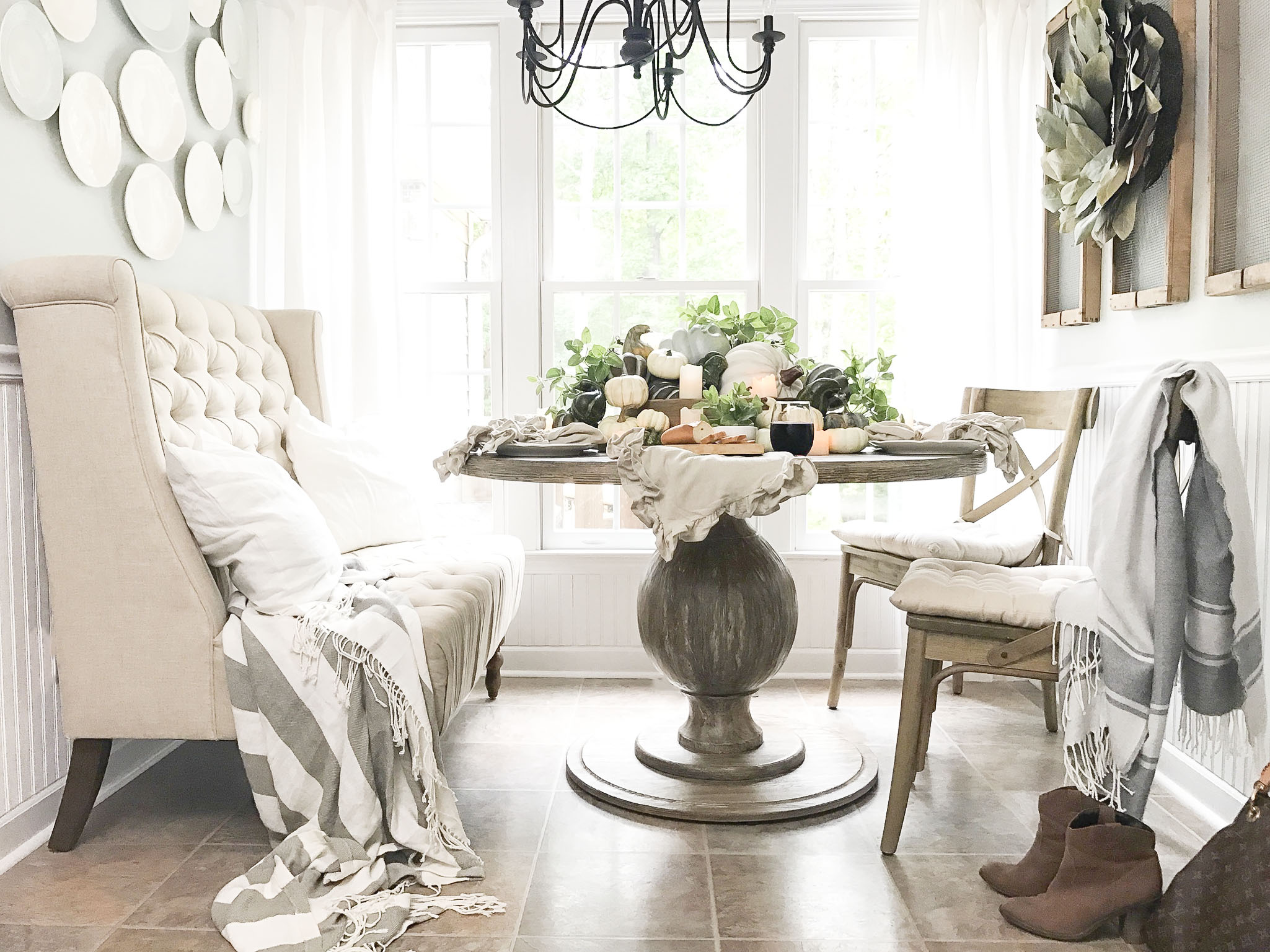 Fall Home Tour inside Plum Pretty Decor and Designs Fall Home- Breakfast Nook with Pumpkin Center Piece Table Setting