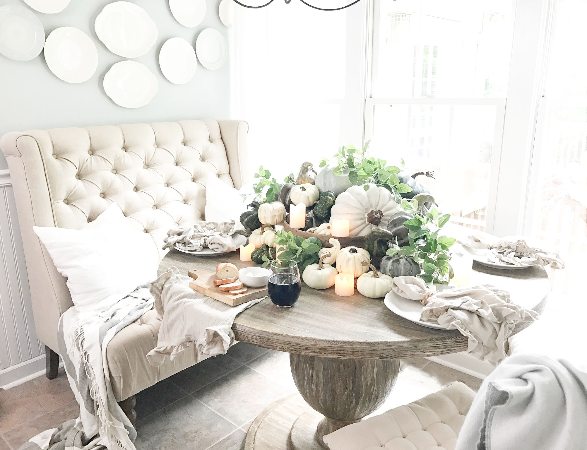 Fall Home Tour inside Plum Pretty Decor and Designs Fall Home- Breakfast Nook Style For Fall- Pumpkins in Antique Sifter